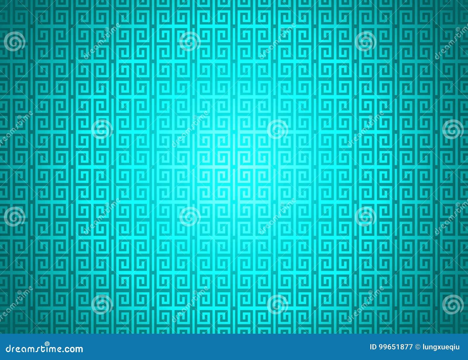 Dark Cyan Neon Green Oriental Ornamental Chinese Arabic