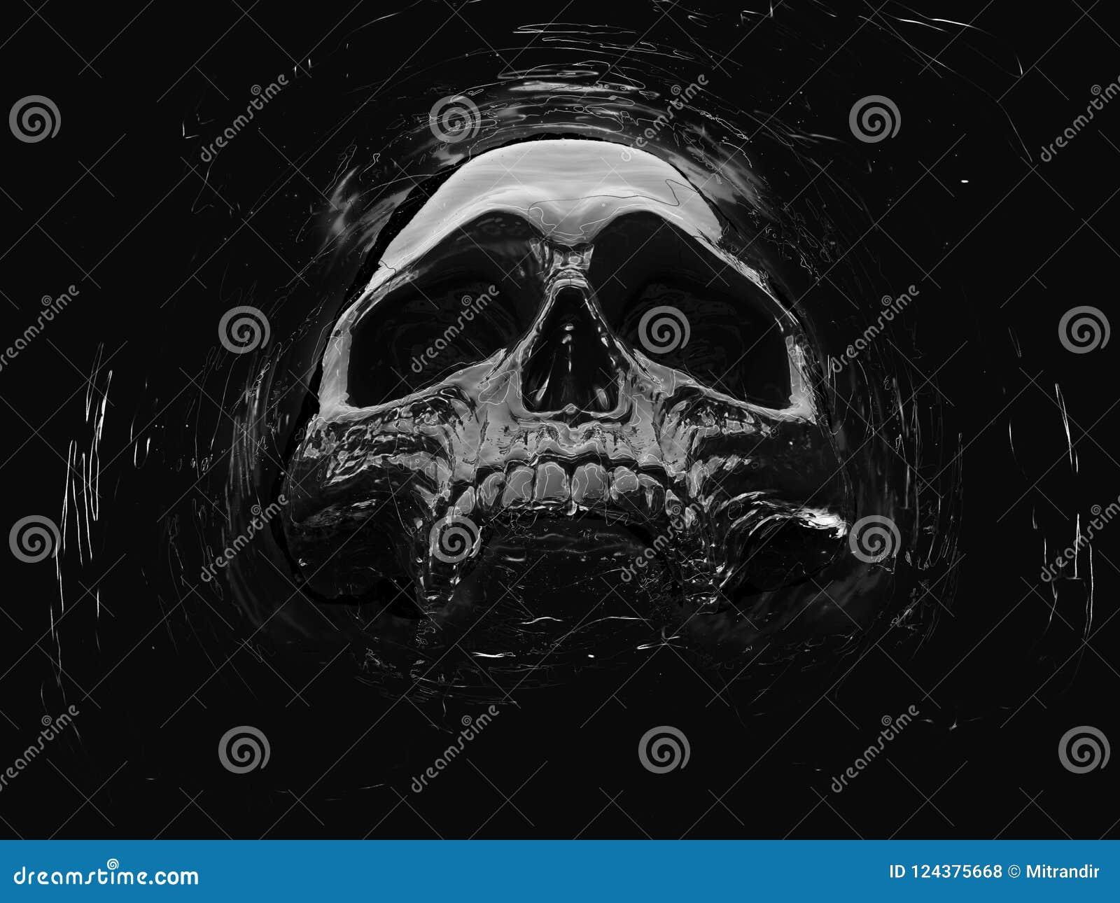 Dark death skull floating in space