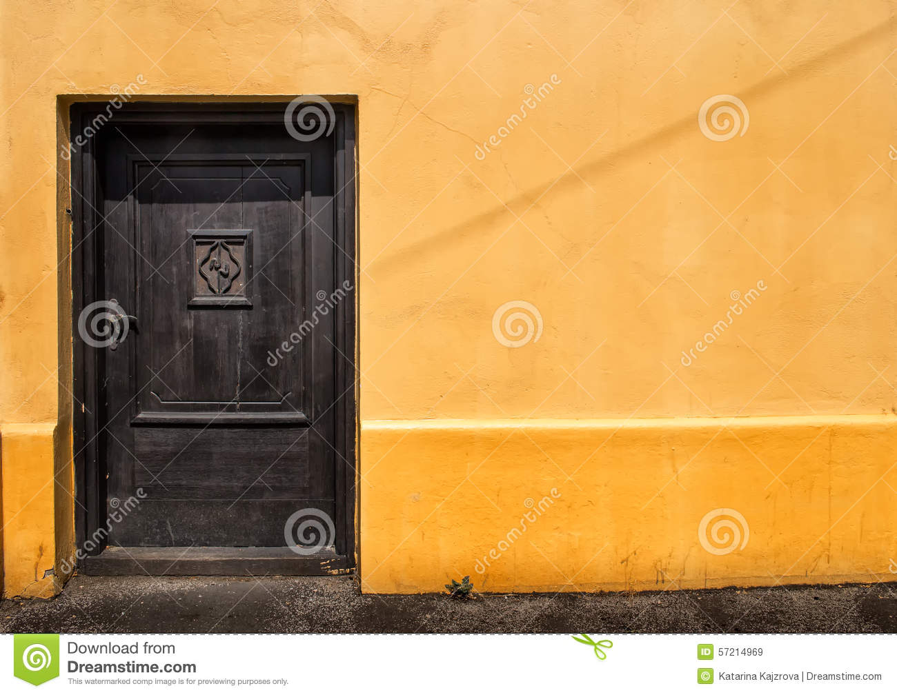 Dark Door In An Orange Wall Stock Image - Image of paint, wallpaper ...
