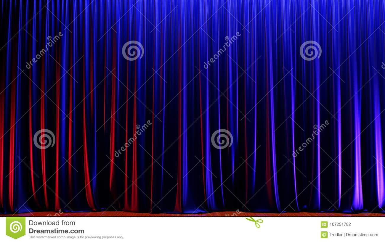 Download Dark Empty Stage With Rich Blue Velvet Curtains 3d Render Stock Illustration