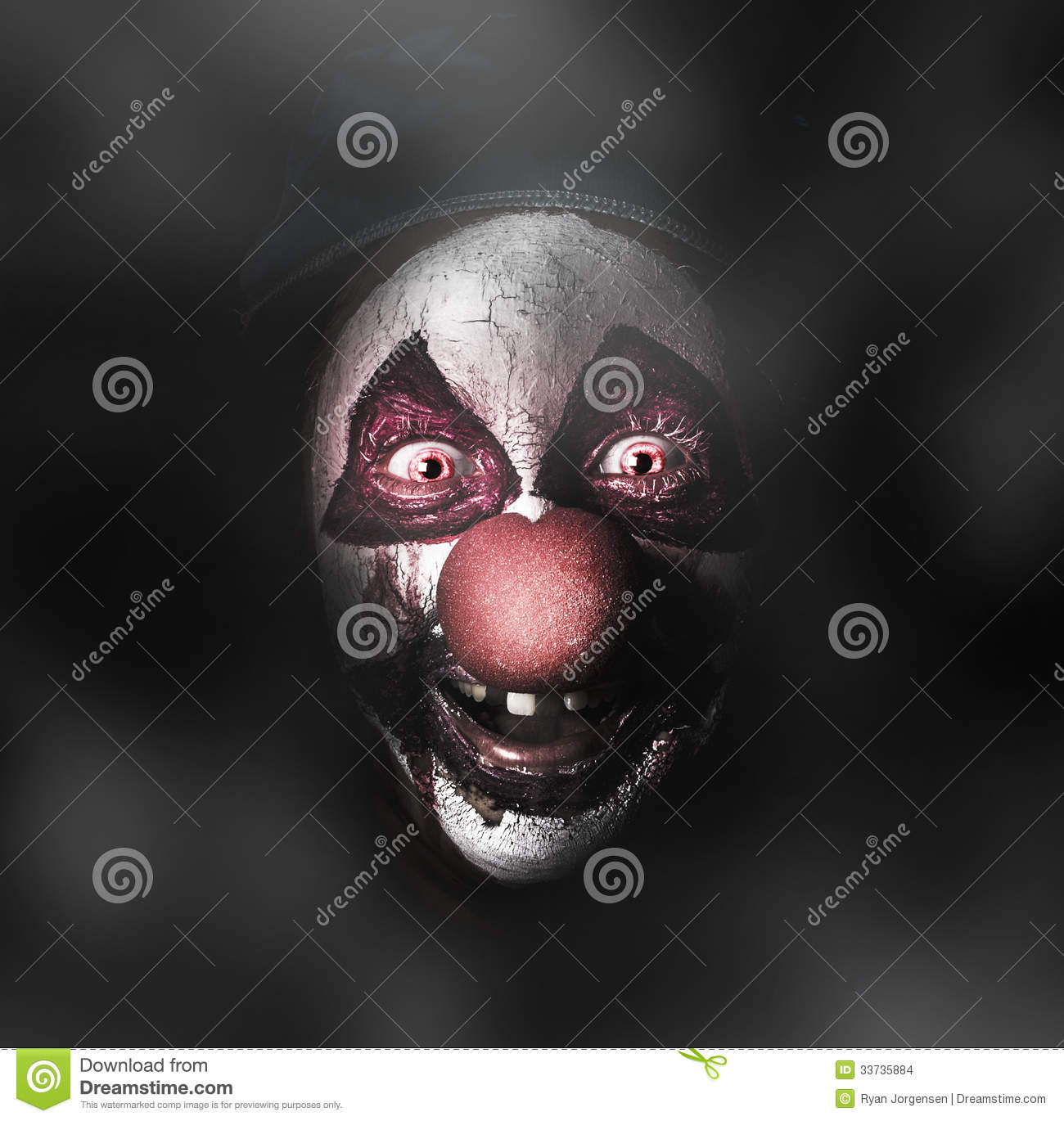 Dark Evil Clown Face With Scary Joker Smile Stock Images - Image ...
