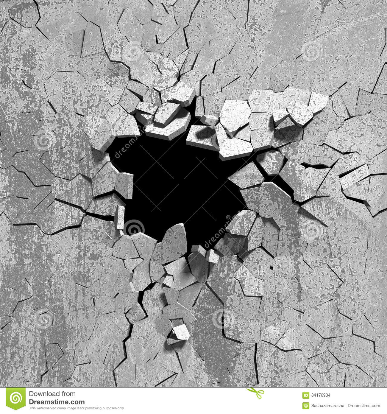 Hole In Concrete Wall : Dark explosion hole of concrete old wall stock