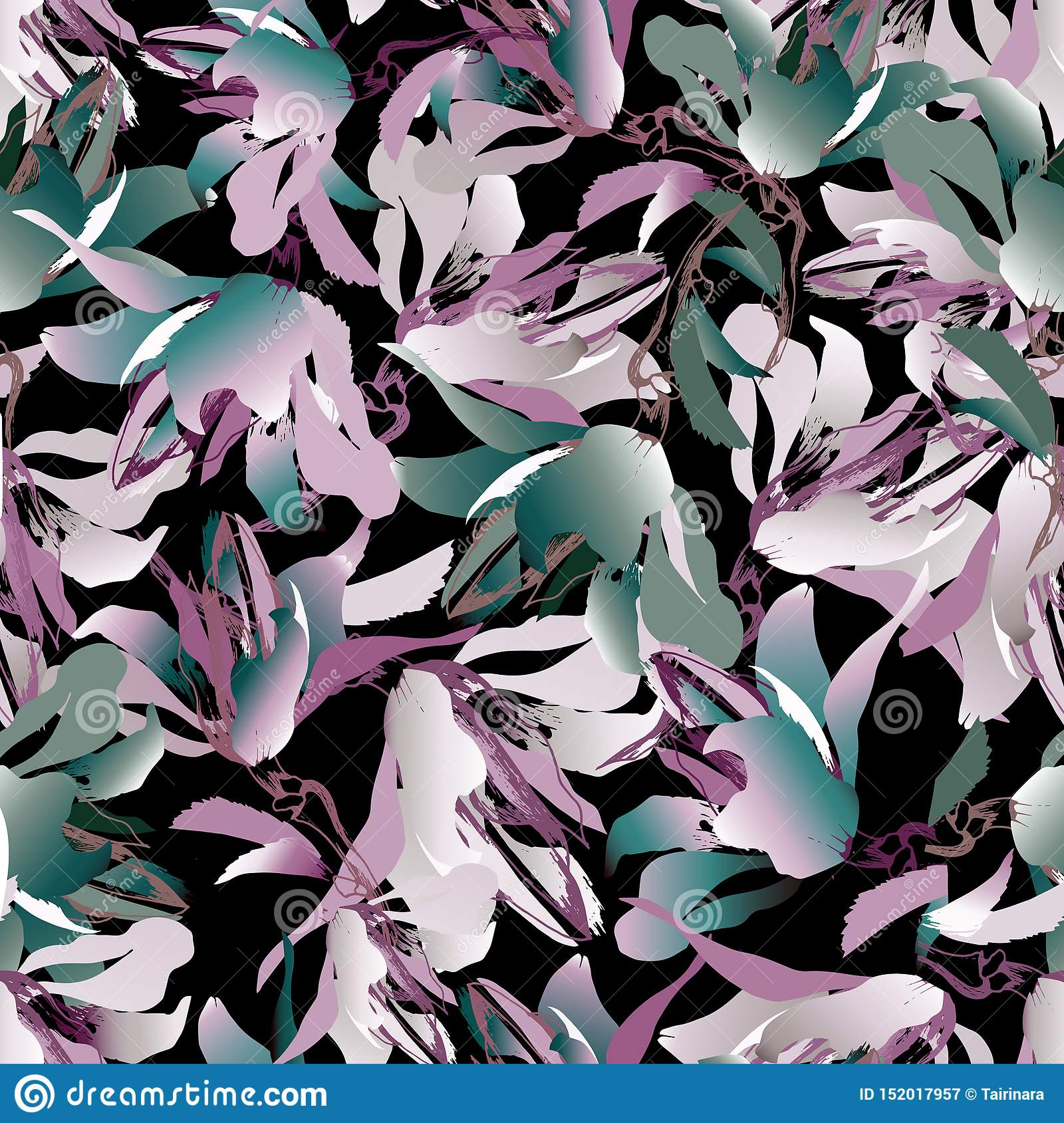 Dark Floral Background Multicolored Flowers On A Black Background