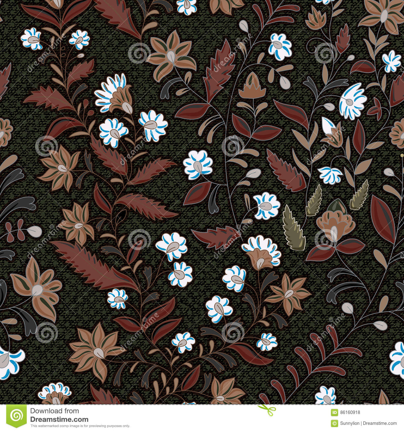 Dark Floral Seamless Pattern Stock Vector Illustration Of Batik