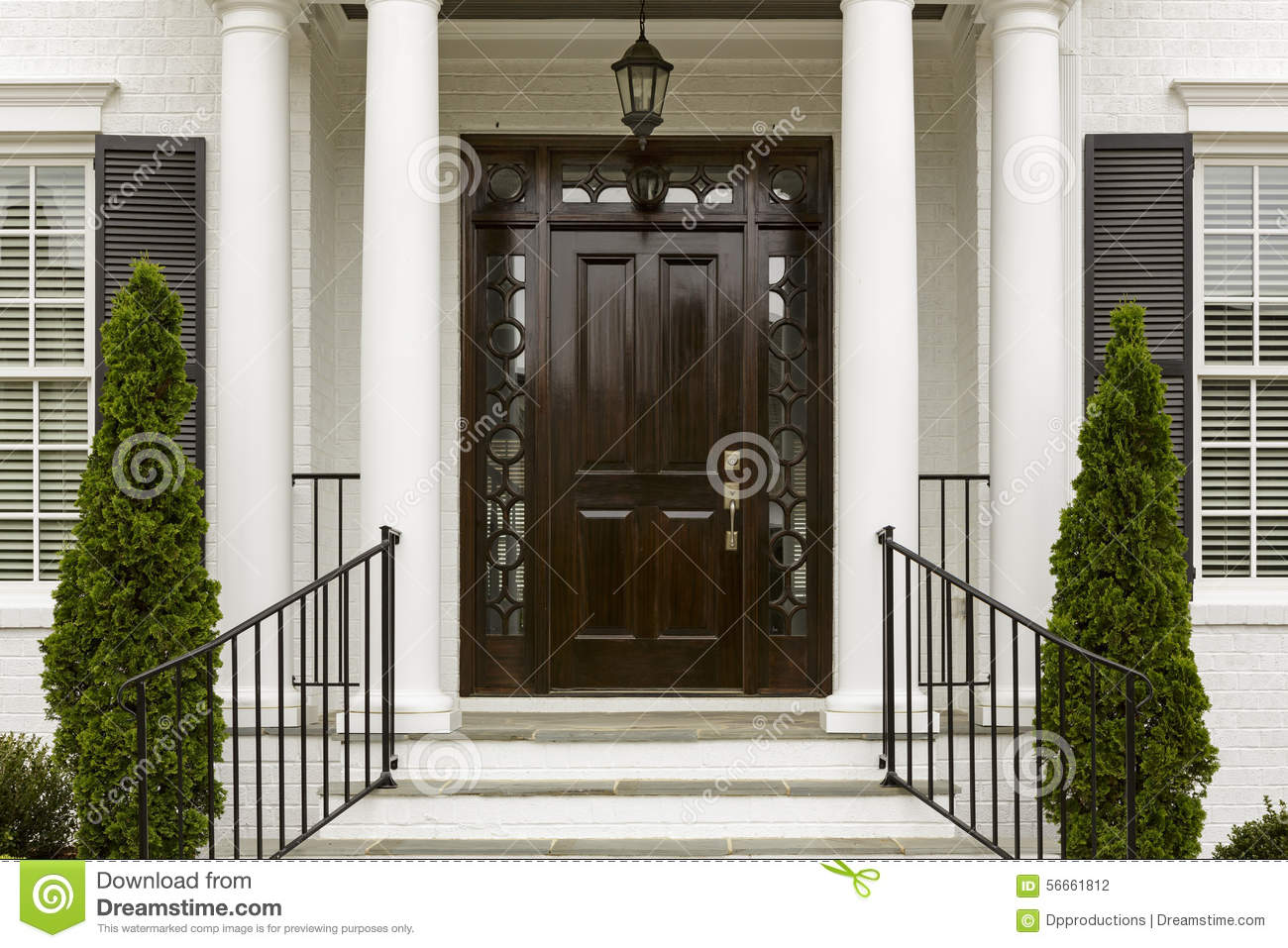 Front Door Columns Part - 45: Royalty-Free Stock Photo. Download Dark Front Door With White Columns ...
