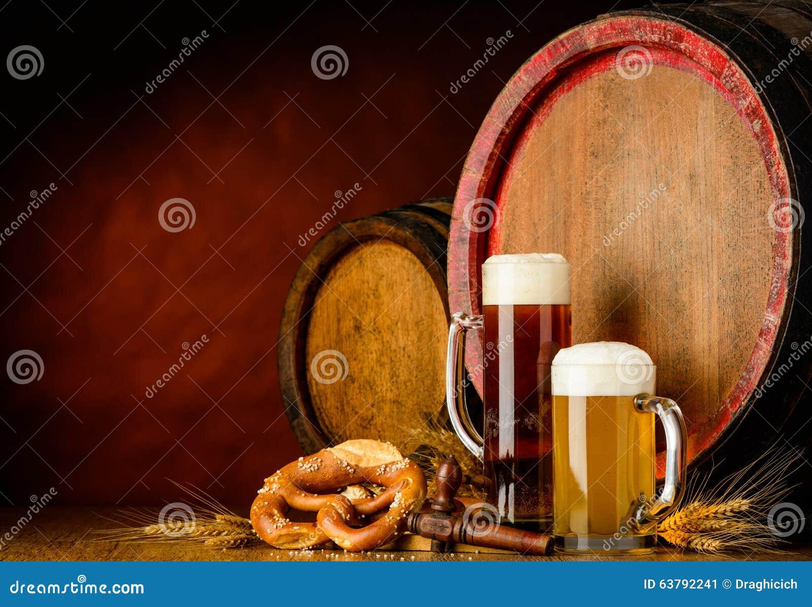 Dark and golden beer