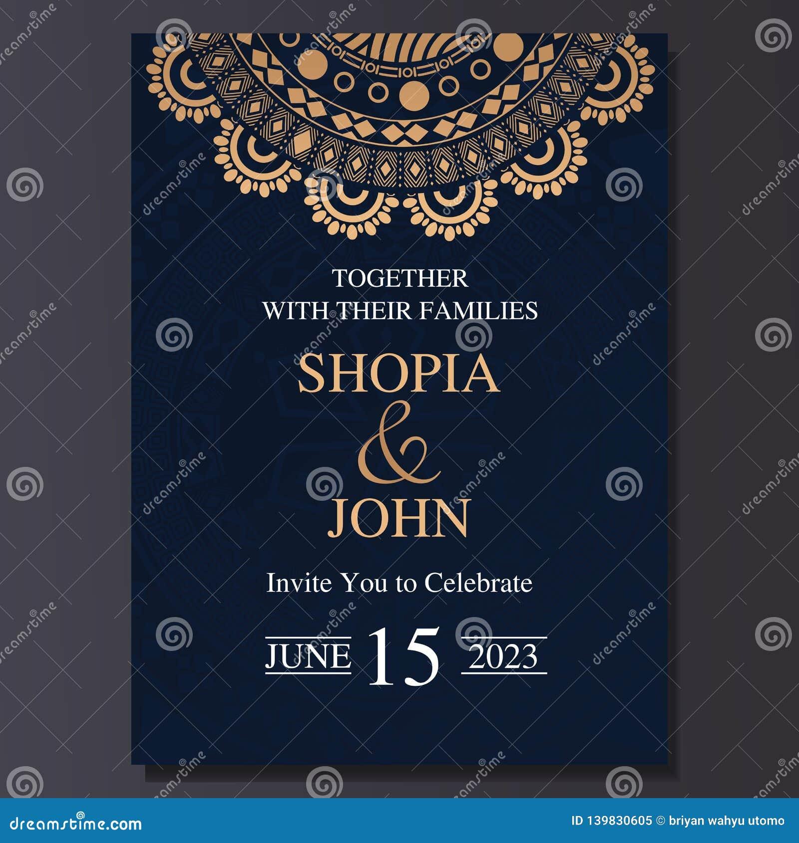 Luxury And Elegant Wedding Invitation Card With Mandala