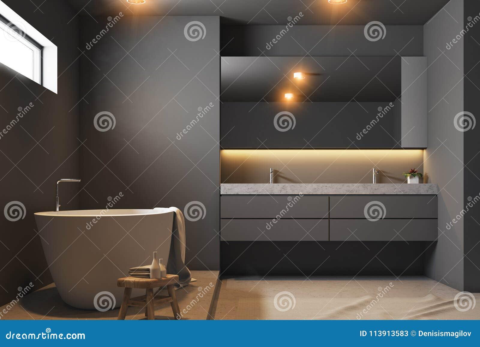 Pleasant Dark Gray Bathroom Interior Close Up Stock Illustration Interior Design Ideas Gresisoteloinfo
