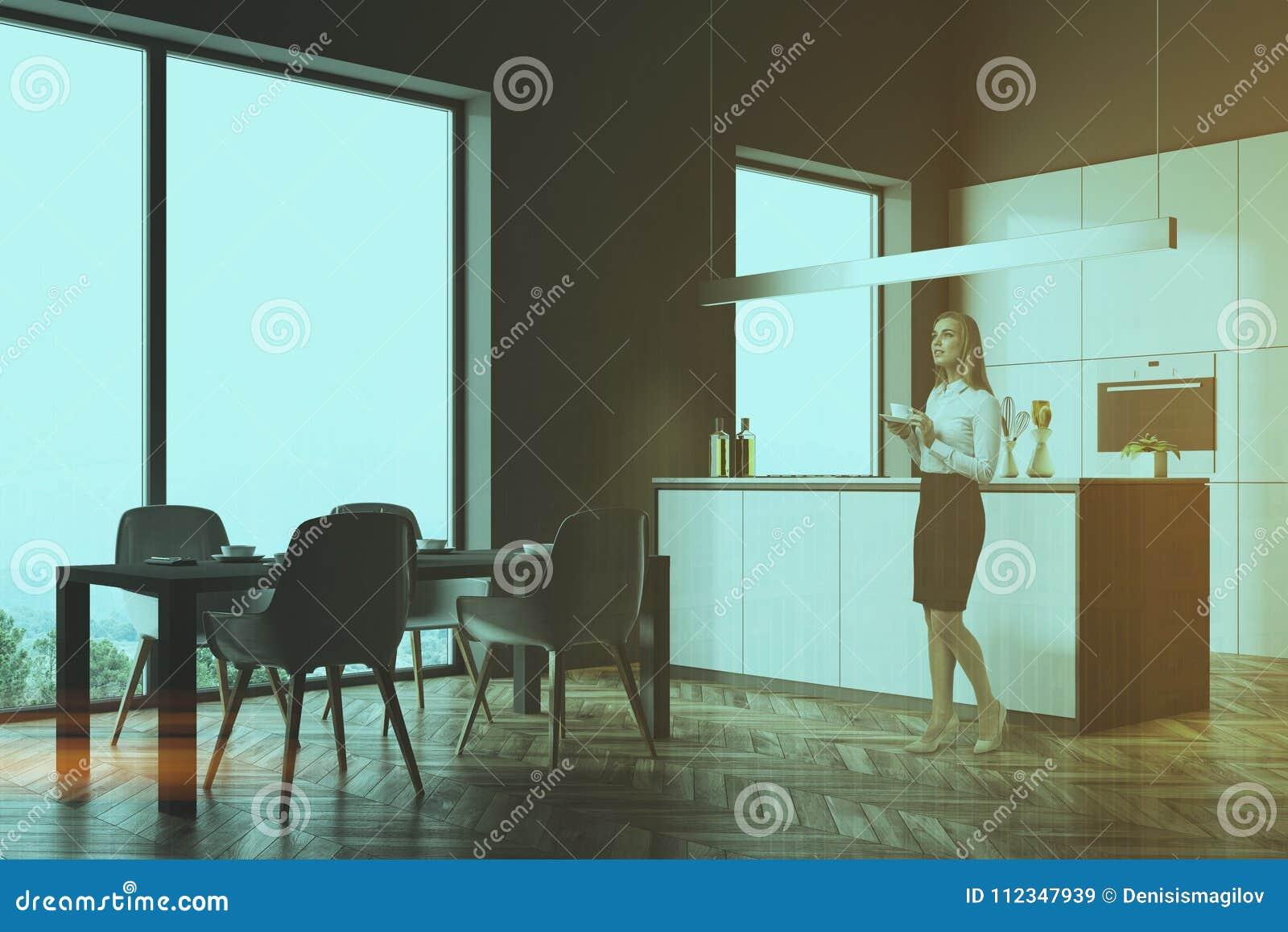 Dark Gray Kitchen Corner, Gray Table Toned Stock Image - Image of ...
