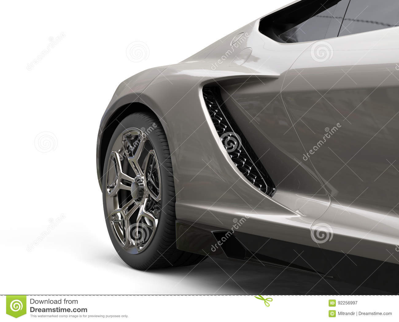 Dark gray modern sports car - rear wheel closeup