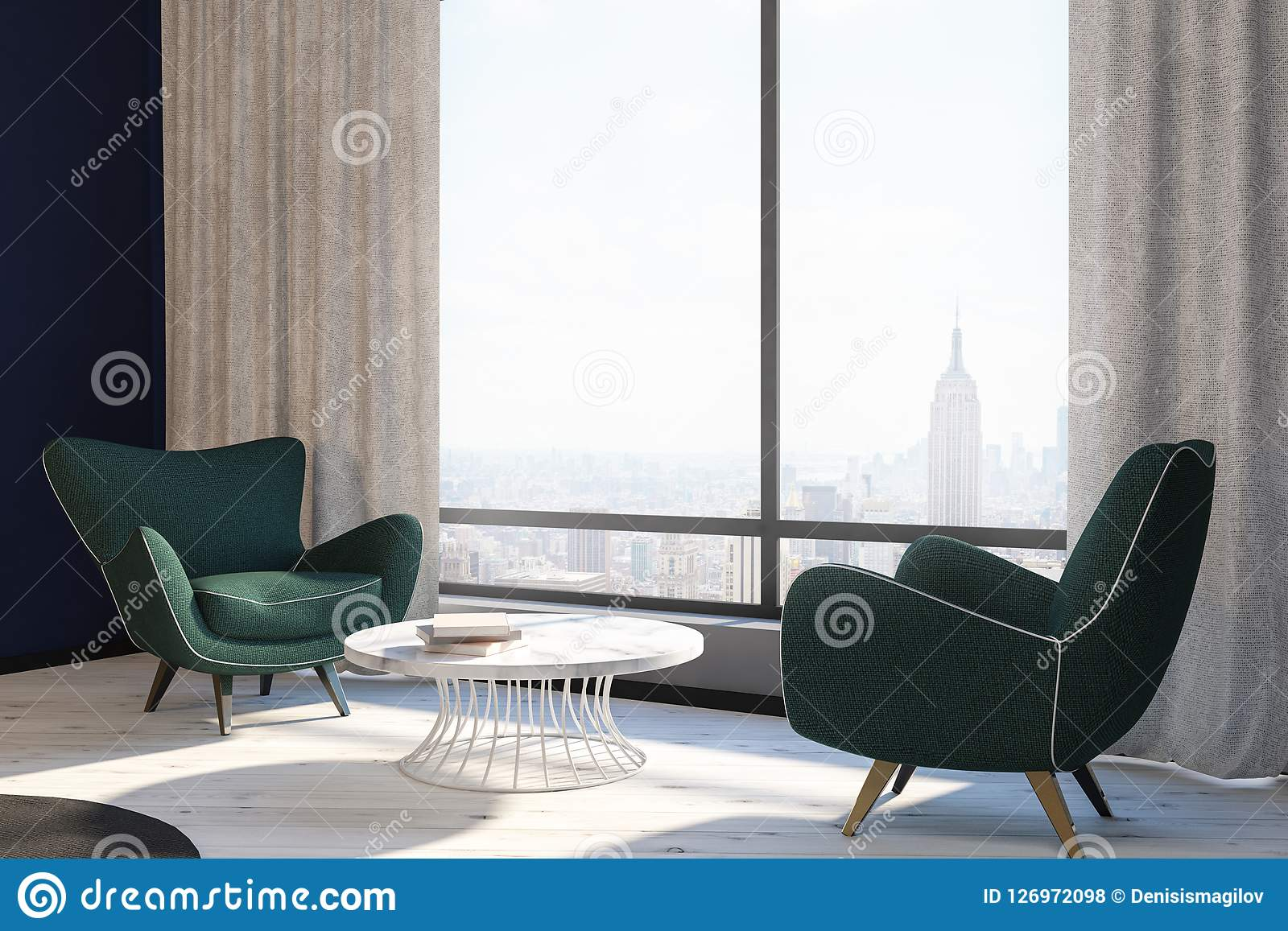 Dark Green Armchair Living Room Interior Side View Stock ...