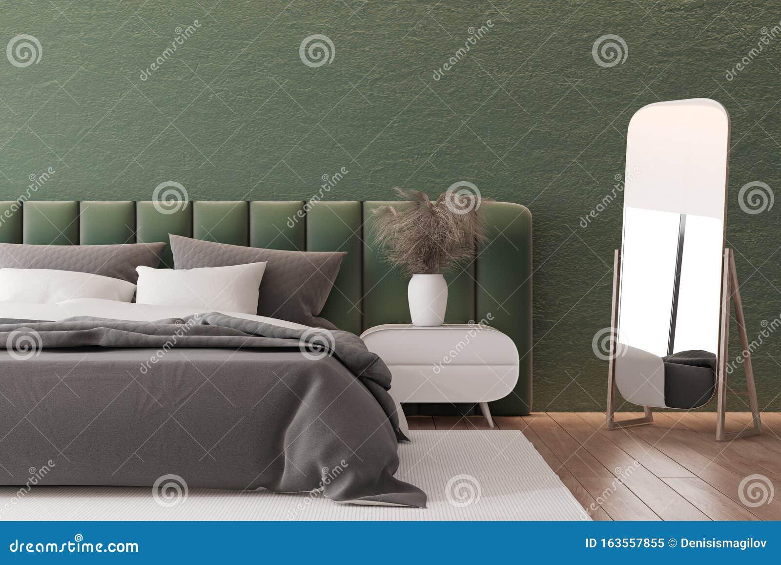 Dark Green Bedroom Interior With Mirror Stock Illustration Illustration Of Bedside Mansion 163557855