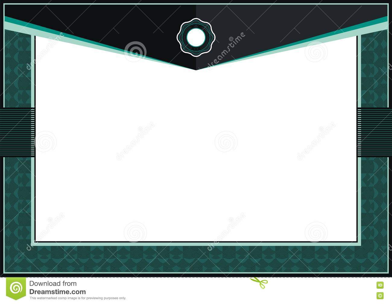 Dark Green Certificate Or Diploma Template Frame  Border