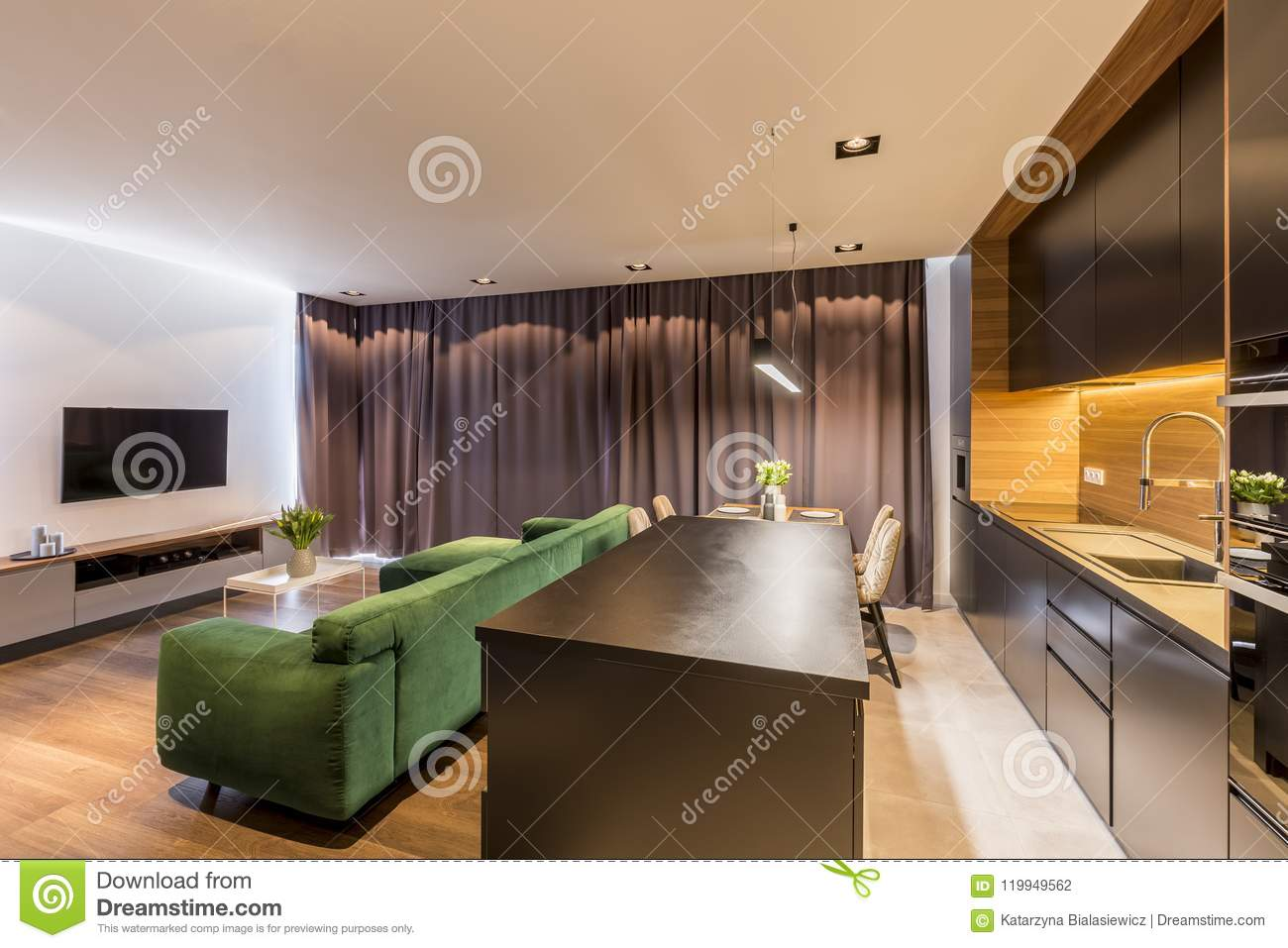 Dark Green Open Space Interior Stock Photo Image Of Table Black