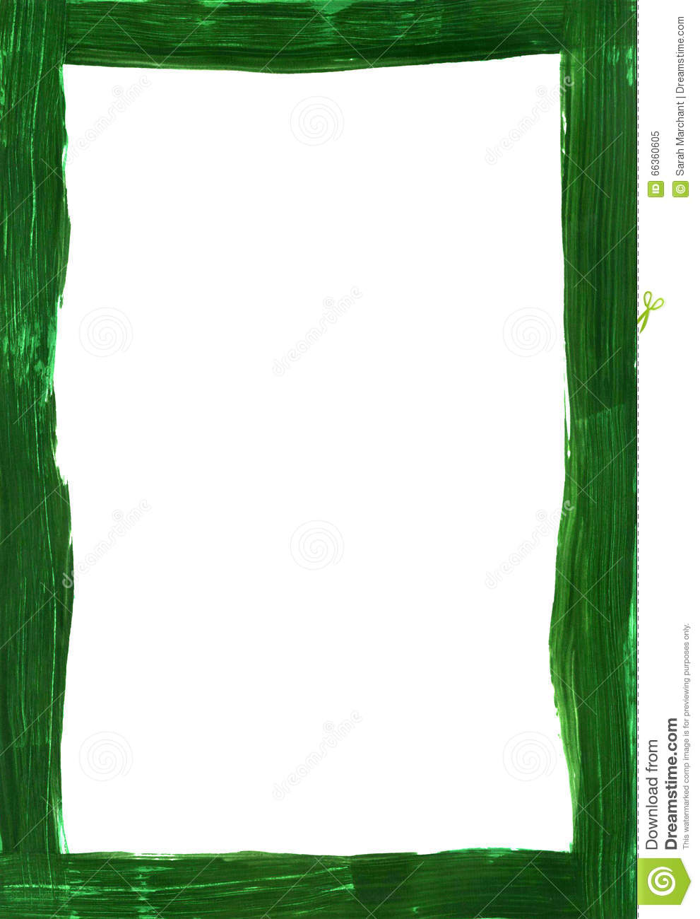 Dark Green Painted Narrow Frame On White Stock Photo