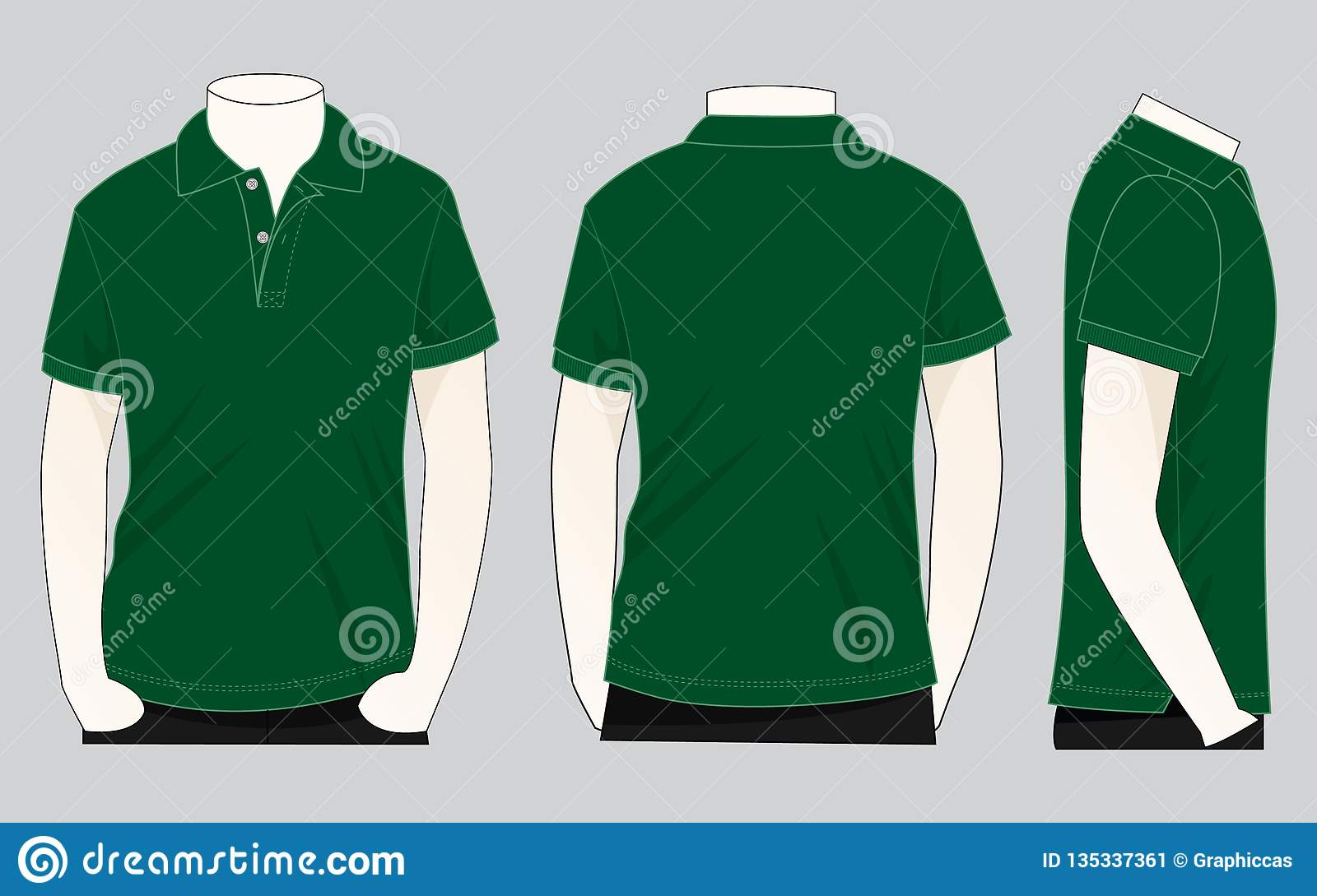 Dark Green Polo Shirt Vecor For Template Stock ...