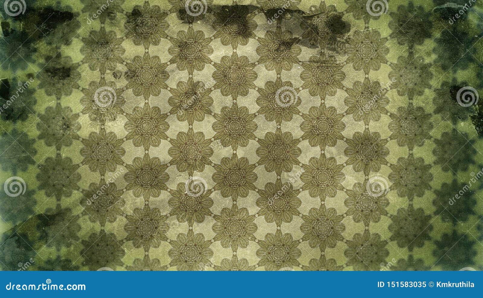 Dark Green Vintage Grunge Decorative Floral Wallpaper Pattern