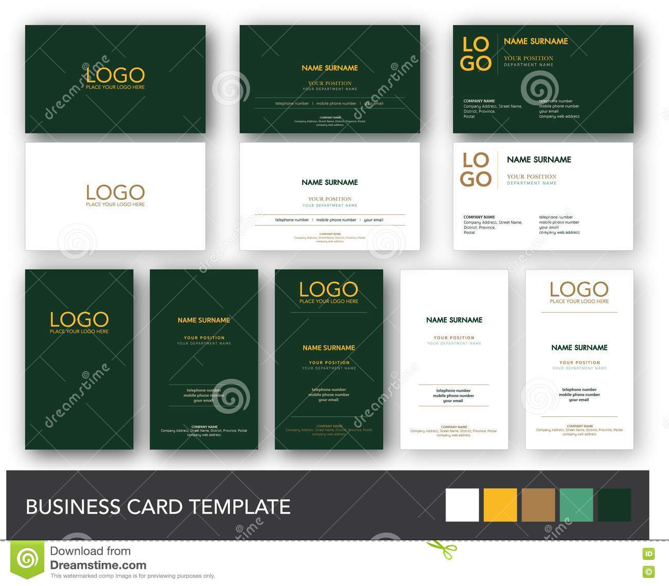 Dark green and yellow gold business card template stock vector dark green and yellow gold business card template flashek Image collections