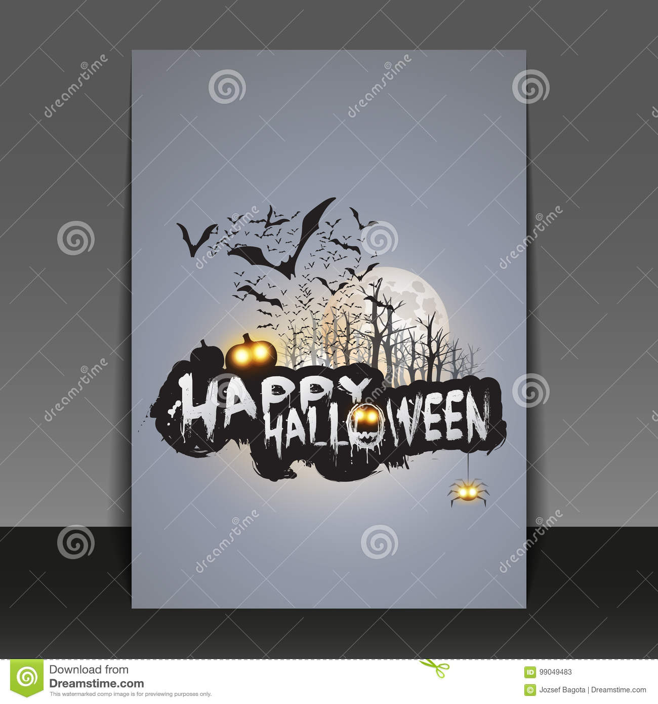happy halloween card flyer or cover template flying bats over the