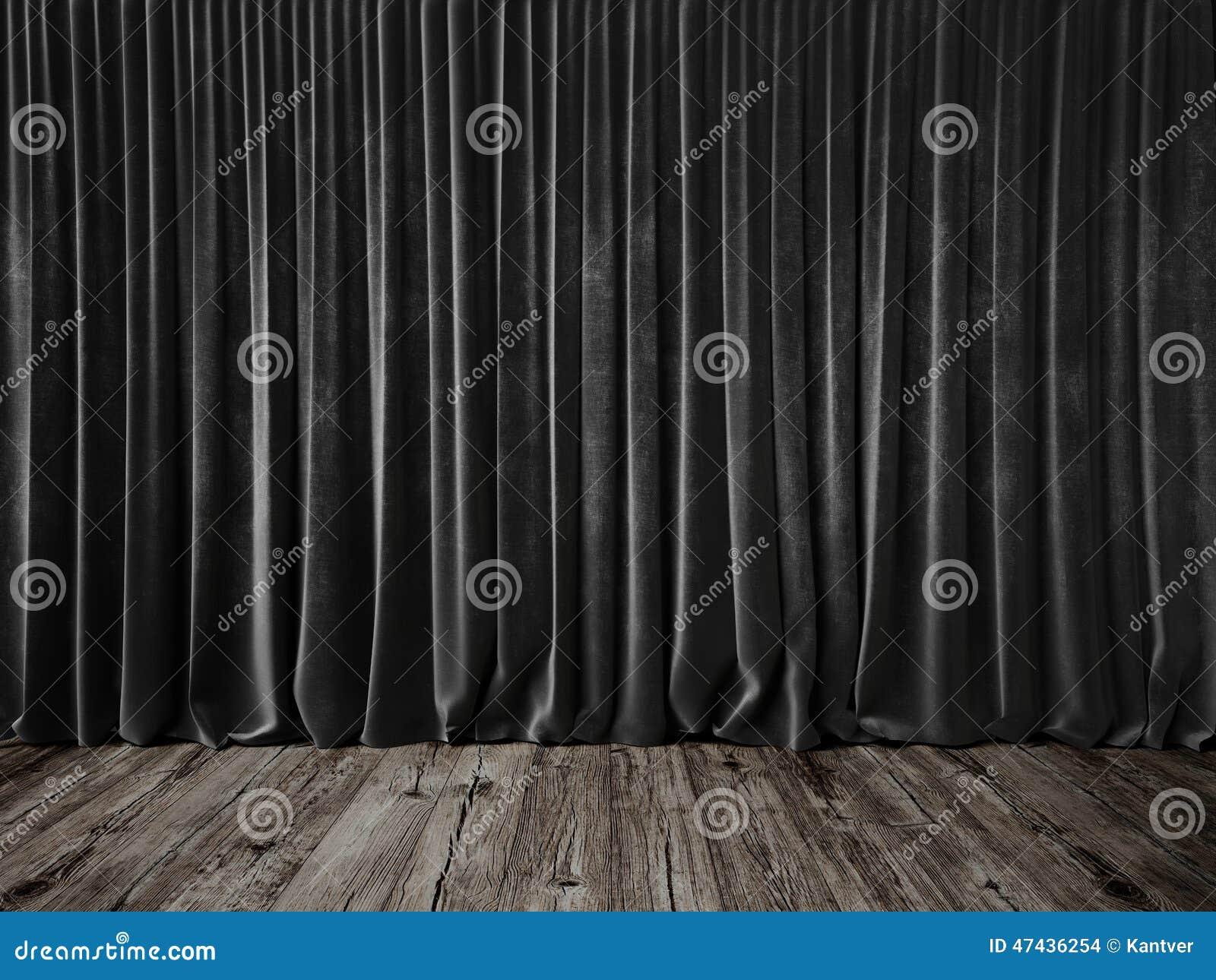 Dark grey curtains and grunge floor stock photo image 47436254