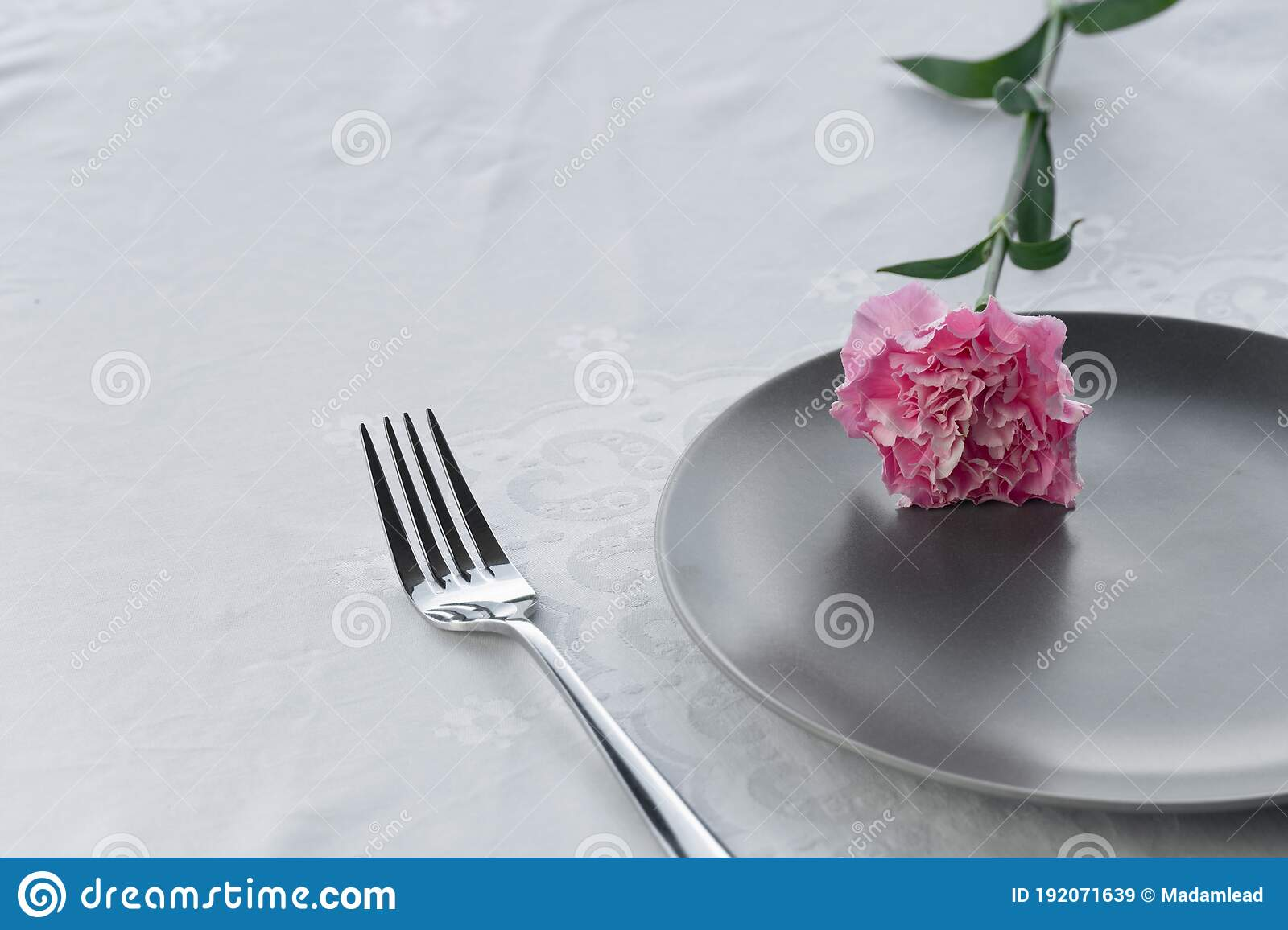 Dark Grey Plate With Pink Carnation Flower For Food Restaurant Service Background Stock Image Image Of Bright Lunch 192071639