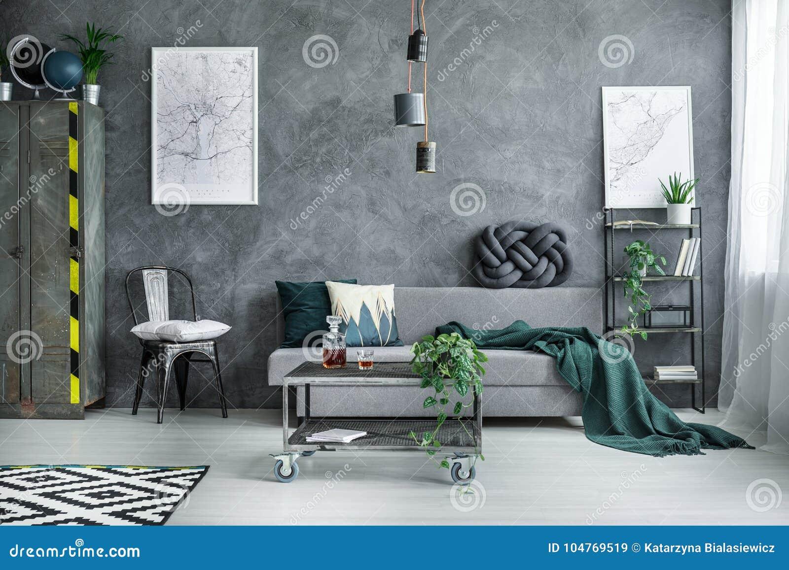 Dark Industrial Living Room