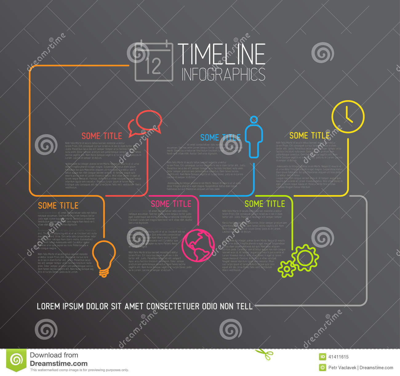 dark infographic timeline report template with lines stock