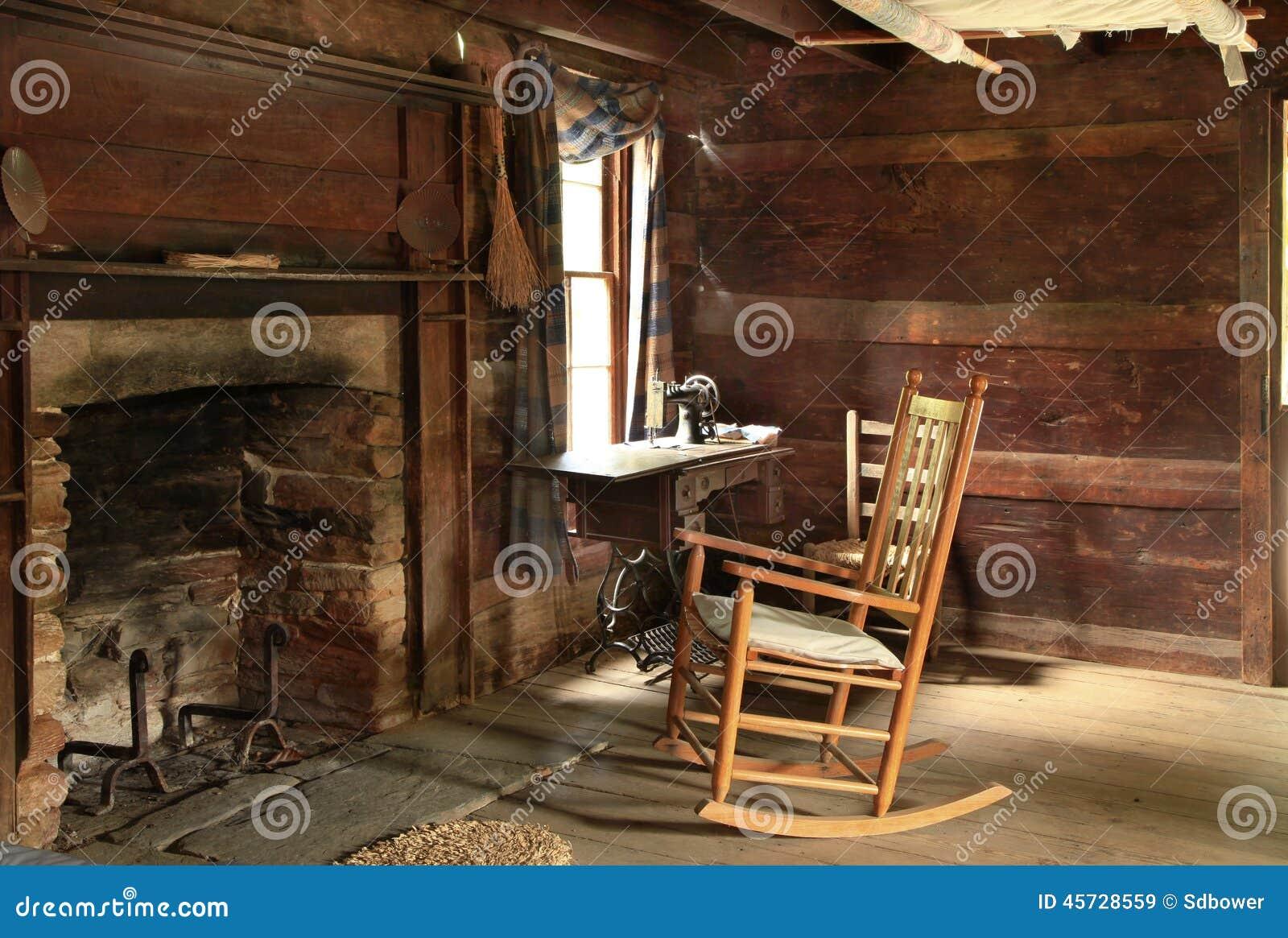 Dark Interior Of Old Log Cabin Built In The 1800s Stock