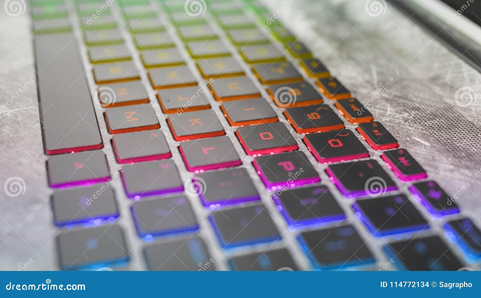 Dark keyboard gaming laptop with rgb backlight