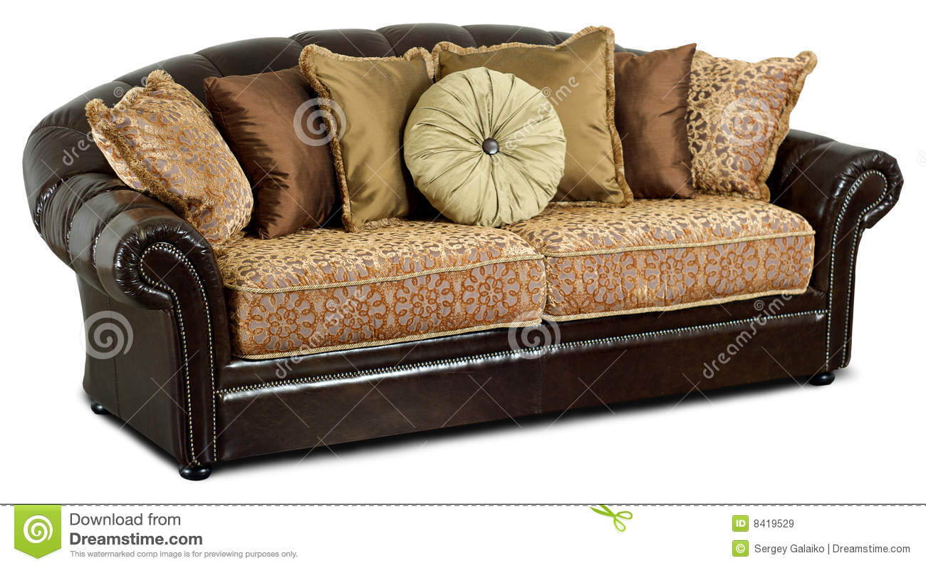The Dark Leather Sofa With Pillows Stock Image Image Of Fashion
