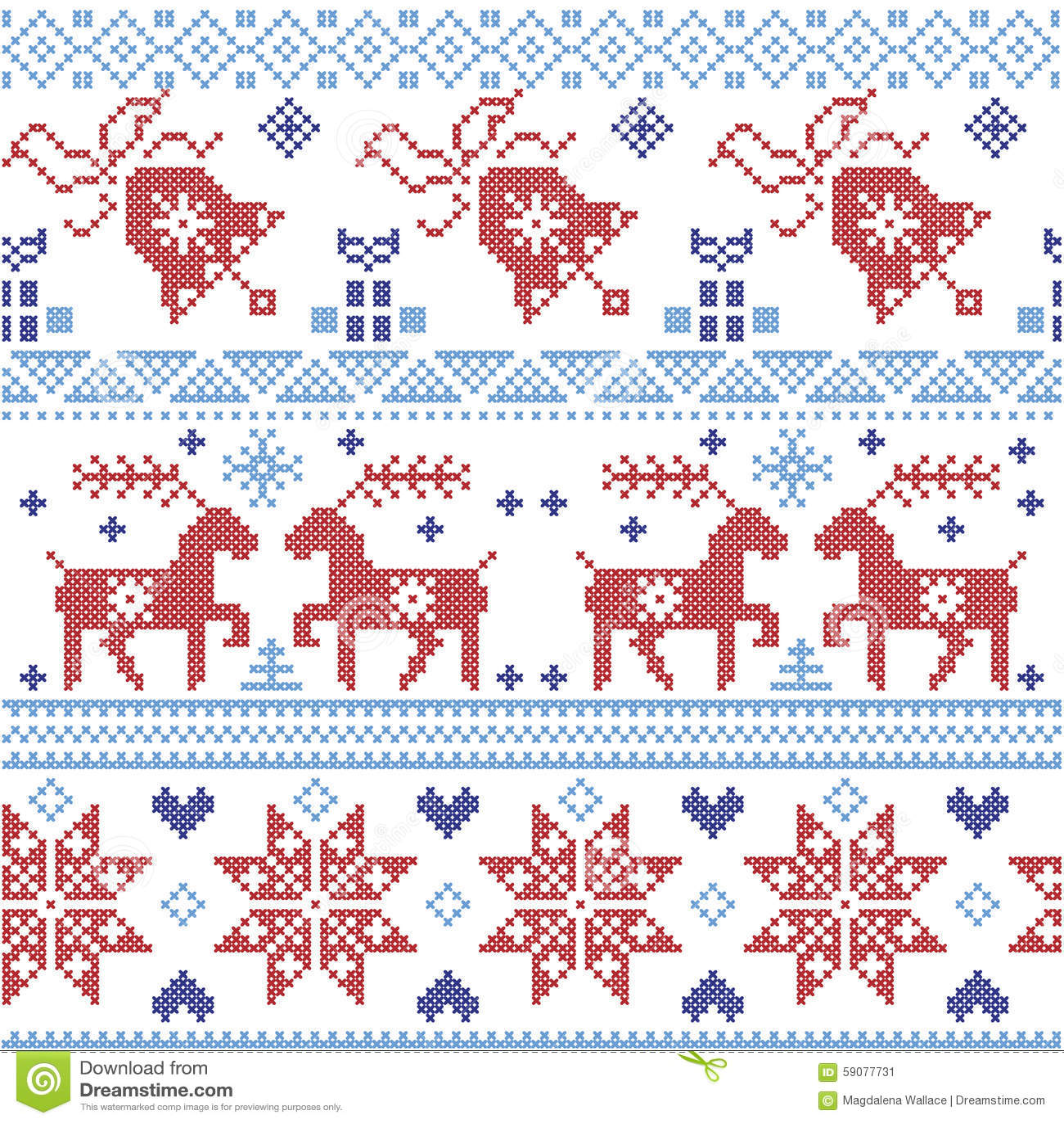 Dark And Light Blue And Red Scnadinavian Christmas Cross Stitch ...
