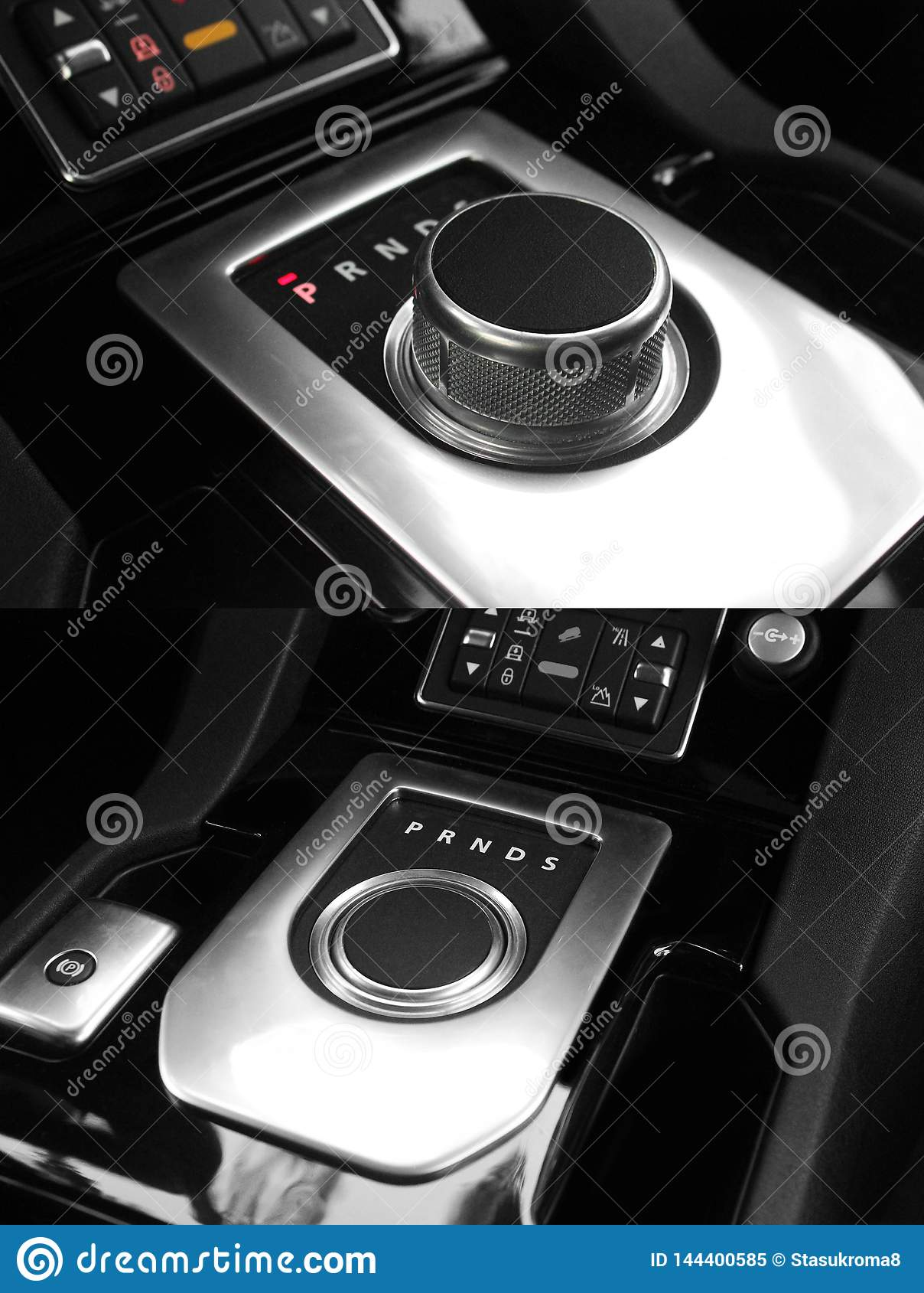 Dark luxury king Interior - Steering wheel, Shift Lever. Tuning. Karbon. Europe. Modern car automatic transmission. Interior