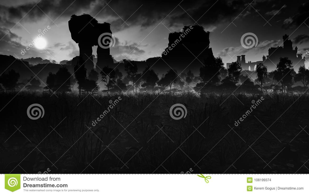 Dark Meadow With Ancient Ruins And Castle