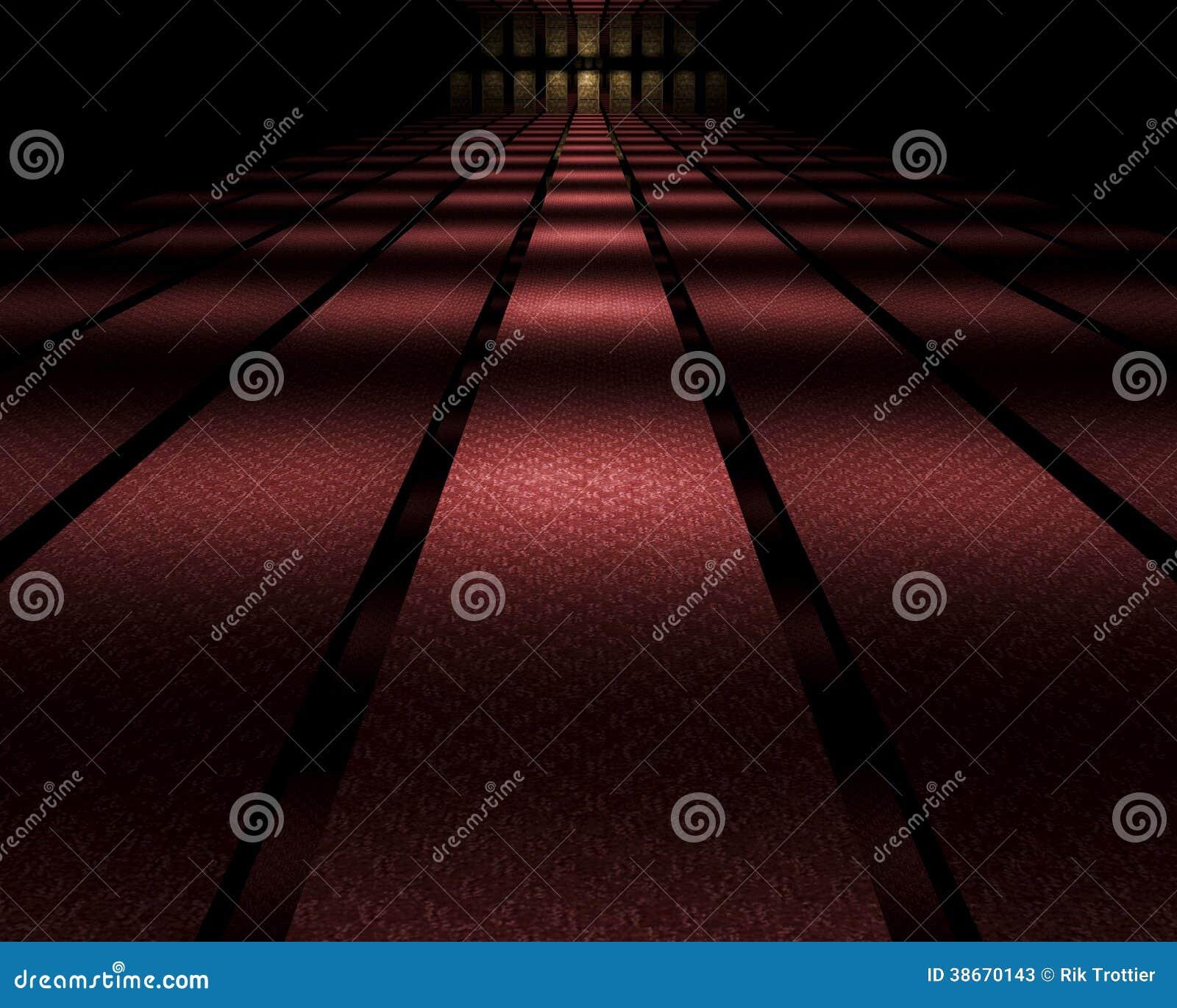Dark mirrored hallway
