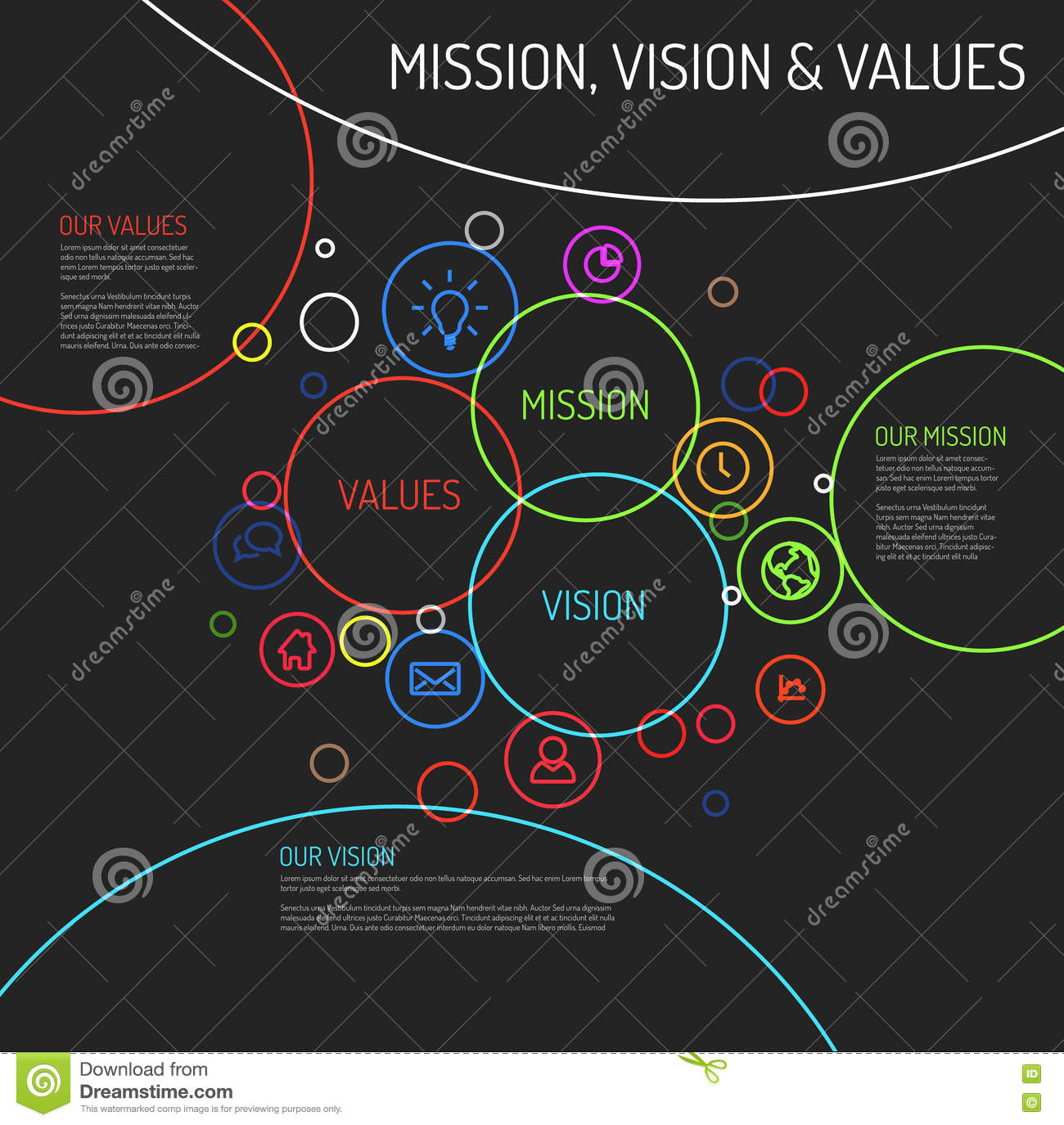 blank venn diagram 4 circles dark mission, vision and values statement diagram schema ...