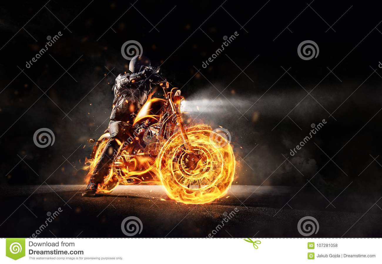 Download Dark Motorbiker Staying On Burning Motorcycle Stock Photo - Image of motion, motorcycle: 107281058