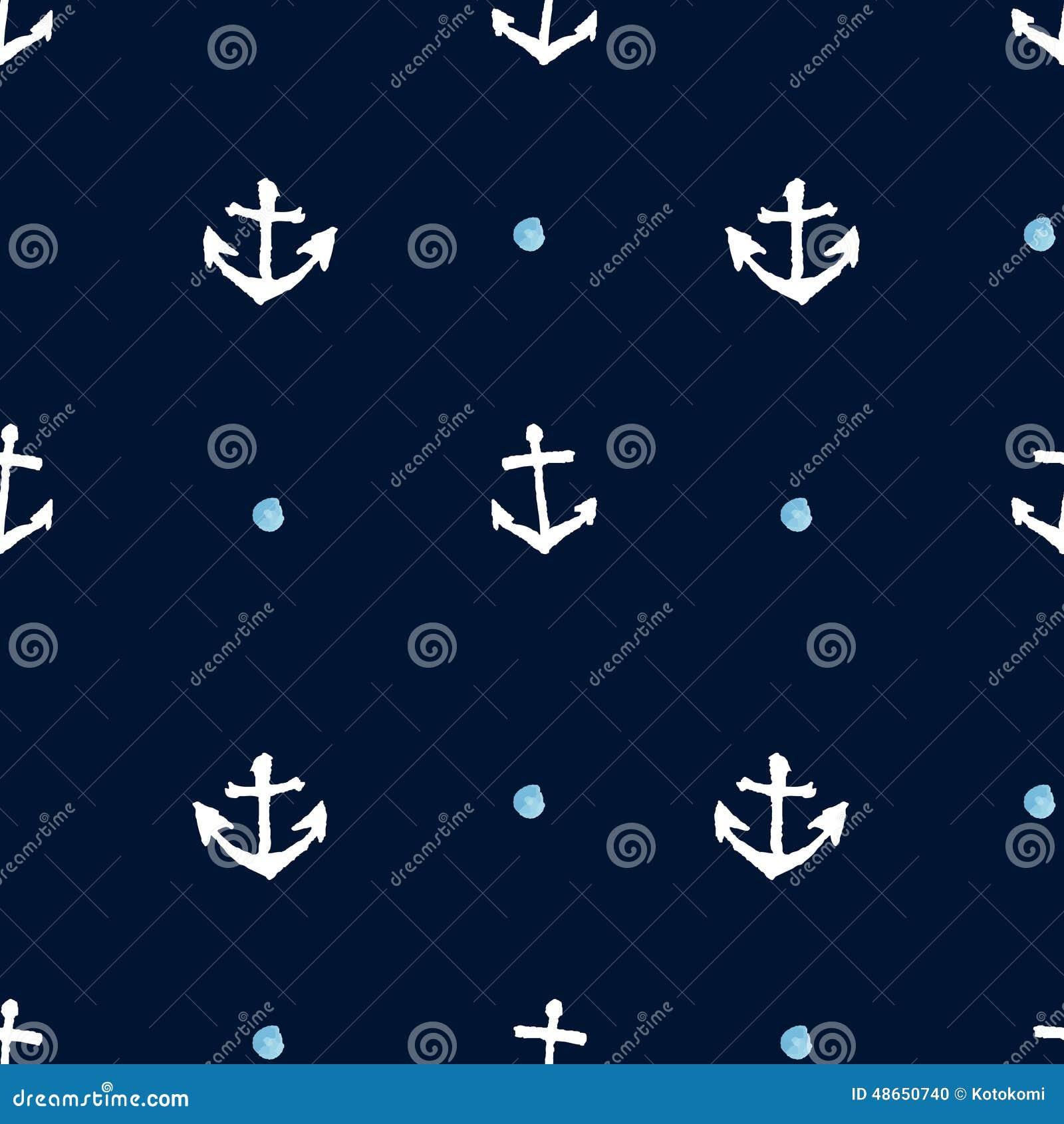 Dark Navy Seamless Anchor Background. Hand Drawn Vector ...