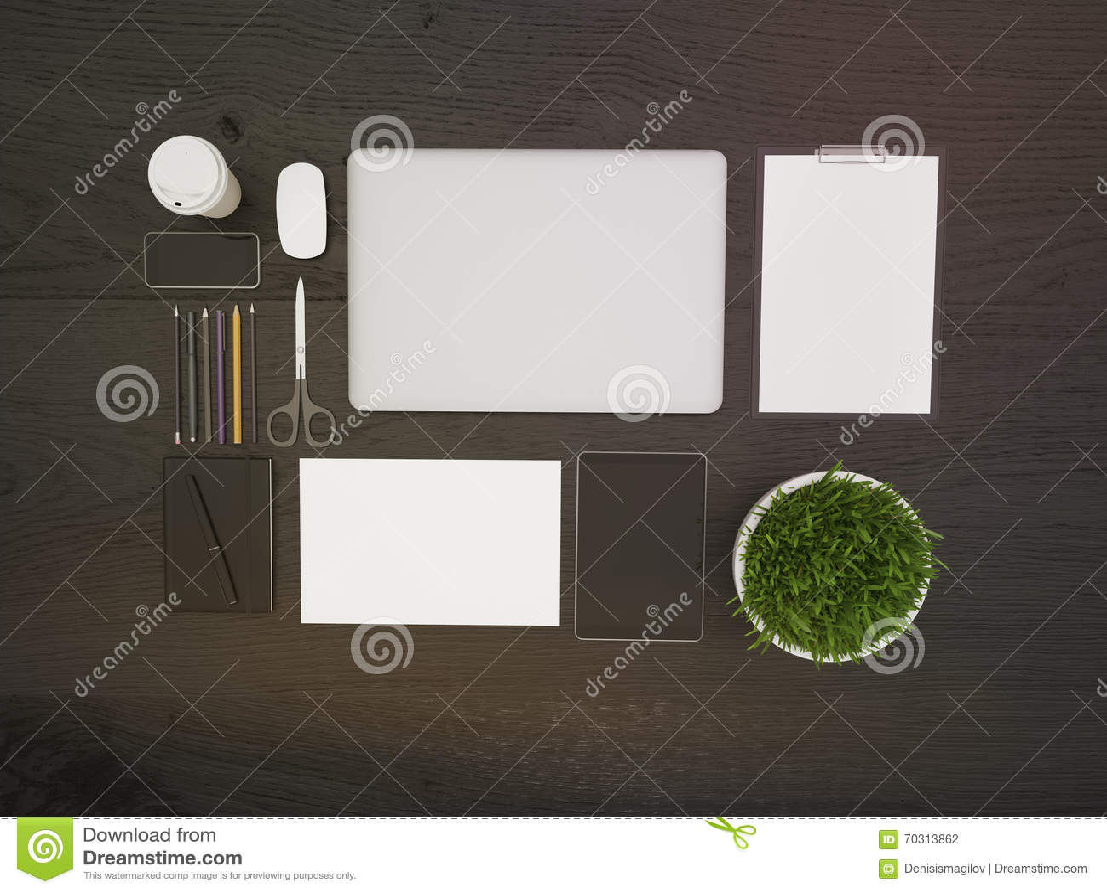 Dark Office Table Top Stock Illustration Image