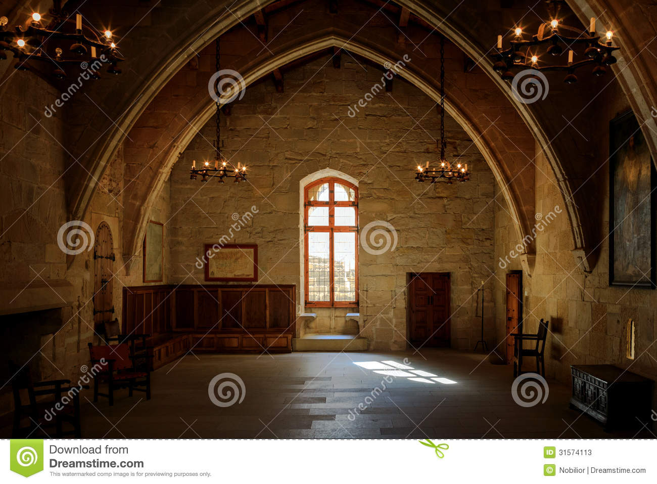 Empty room with window and door - Dark Old Room In Poblet Cloister With Stained Glass Window And