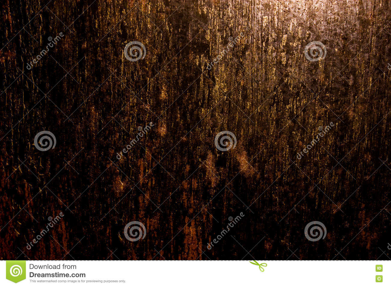 Dark old scary rusty rough golden and copper metal surface texture/background for Halloween or haunted house games