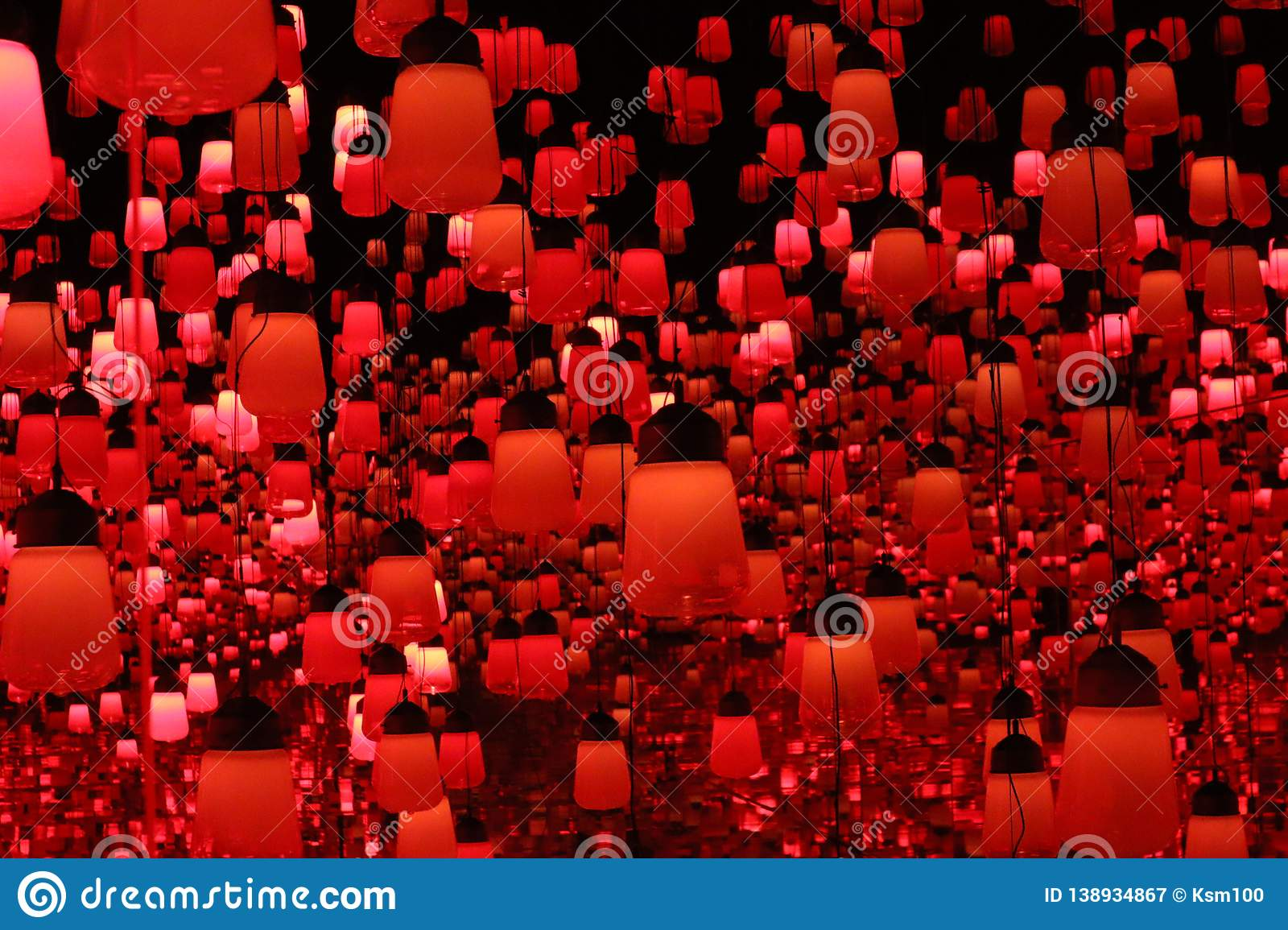 Dark orange lamp teamlab borderless