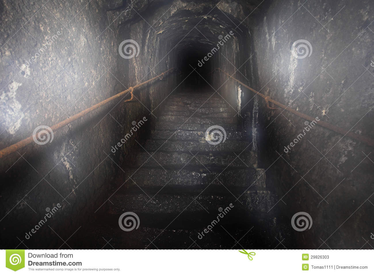 Mystery Dark out of the tunnel in the staircase