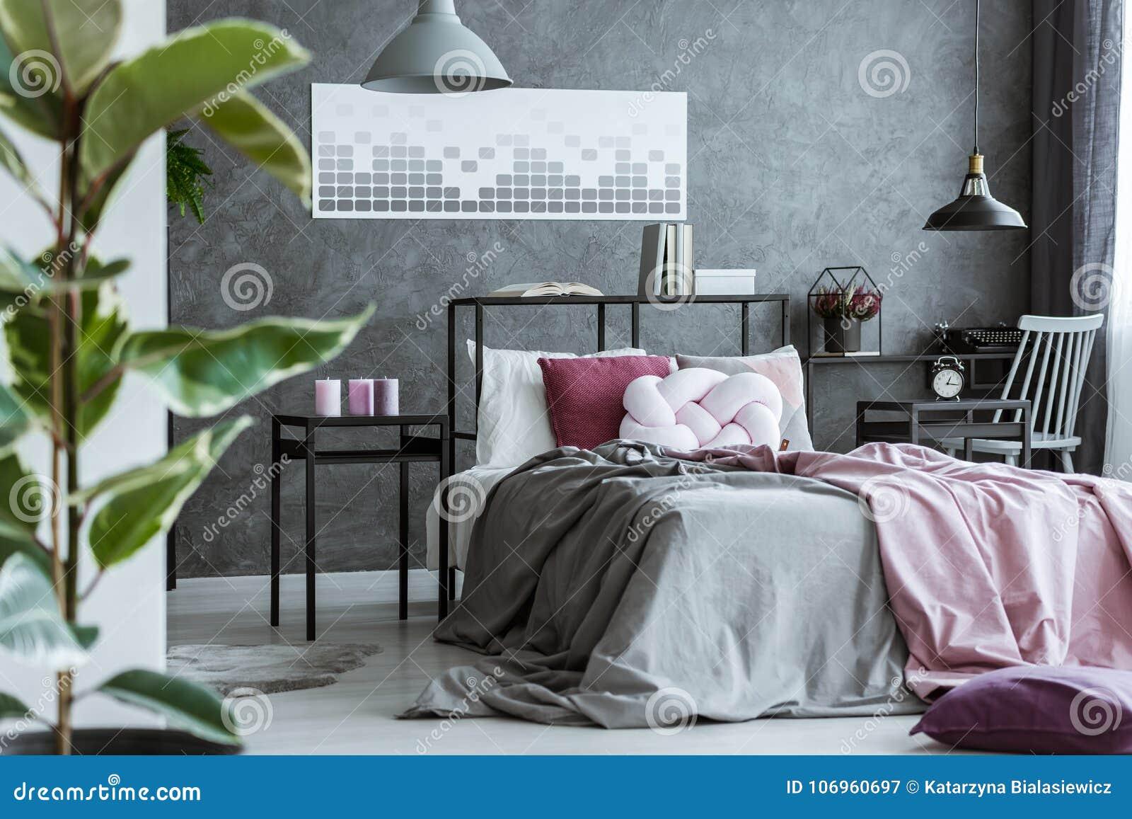 Dark Pink Bedroom Interior Stock Image Image Of Concrete 106960697