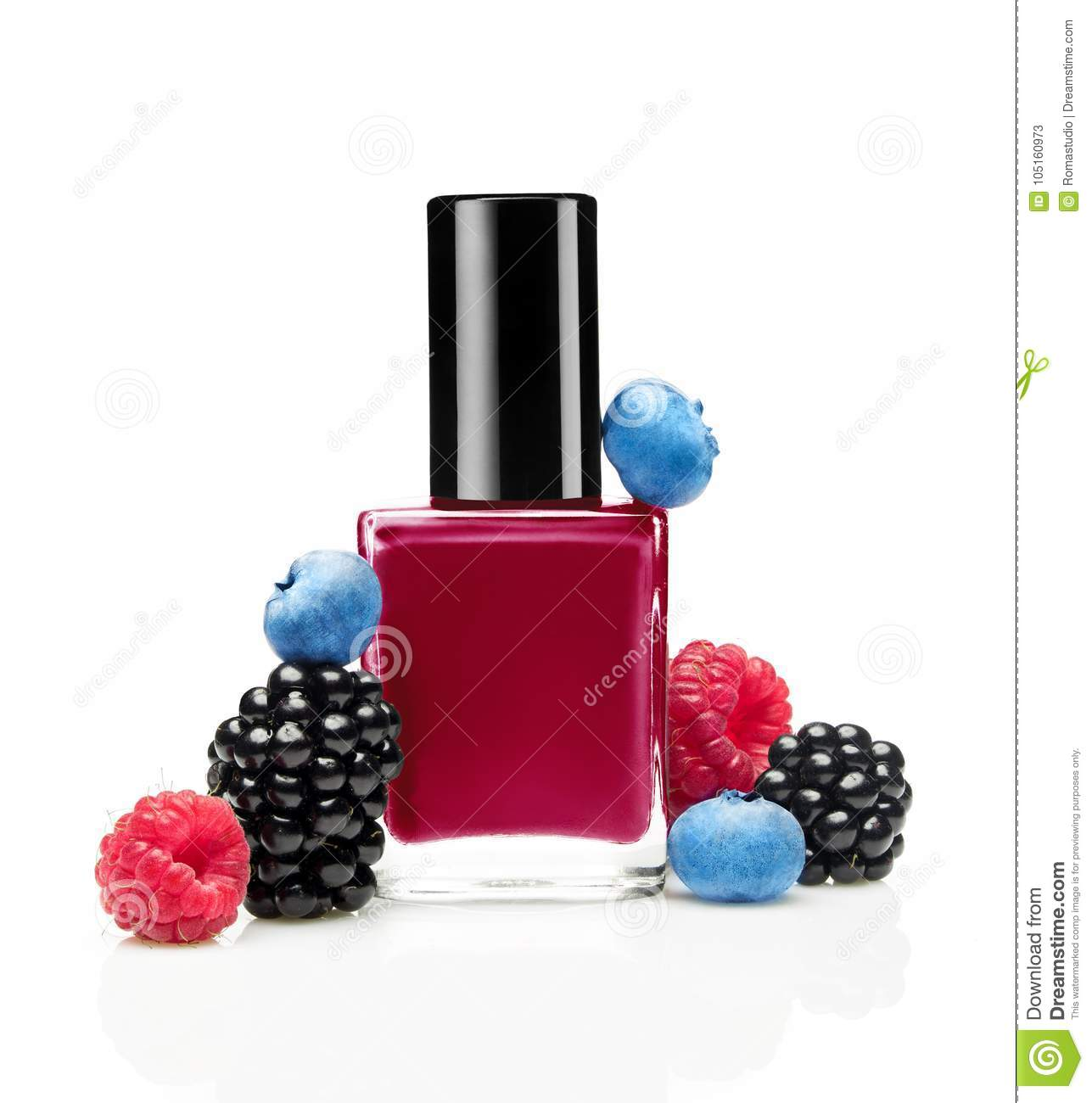 Dark Pink Nail Polish Bottle With Wild Berries Stock Image - Image ...