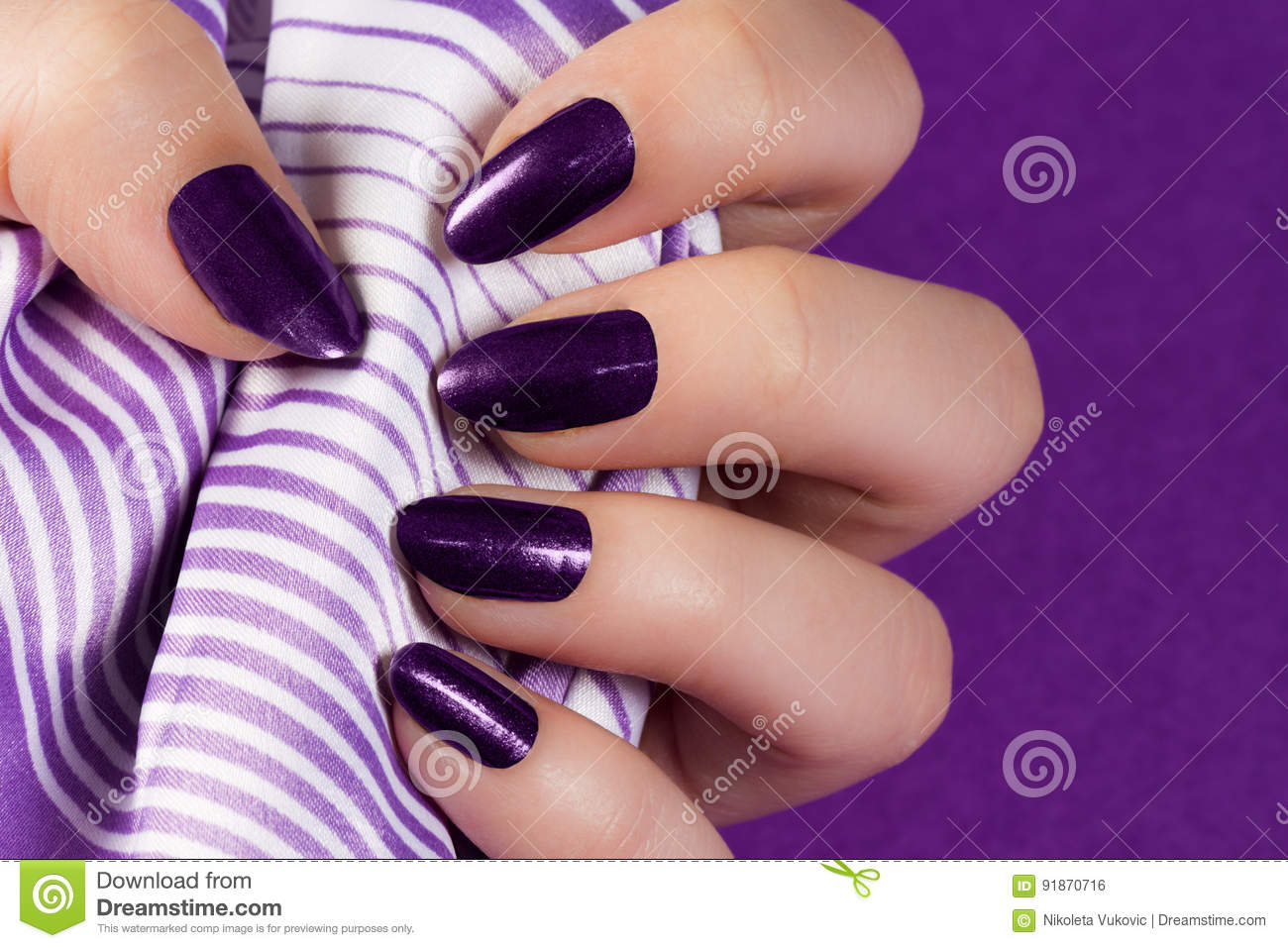 Dark purple nails stock photo. Image of nails, color - 91870716