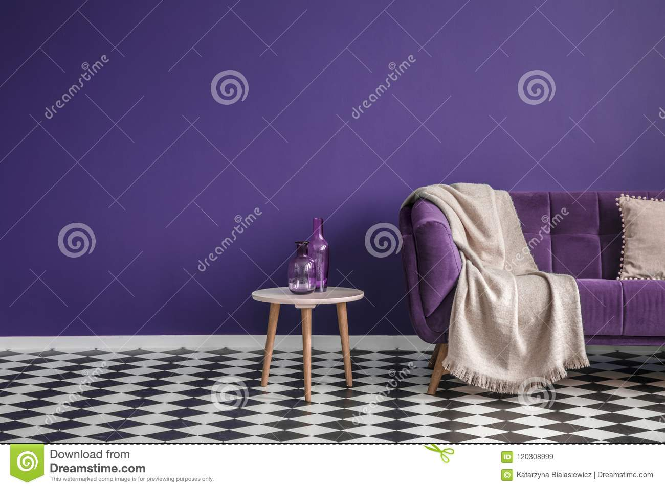 Outstanding Dark Purple Sofa With A Blanket Beside A Small Table With Theyellowbook Wood Chair Design Ideas Theyellowbookinfo
