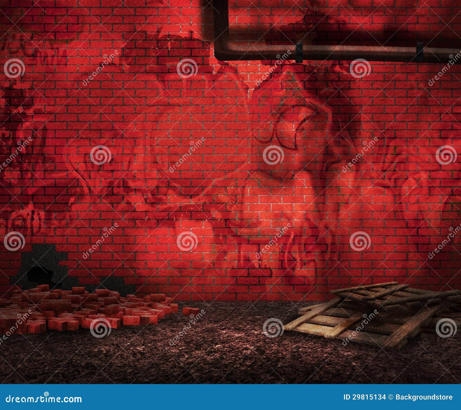 Backyard Background Images : Red Grunge Brick Backyard Background Stock Images  Image 29815134