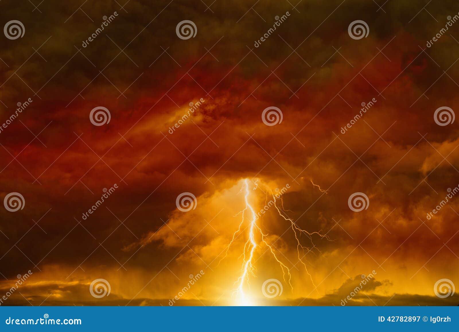 Dark red sky with lightning