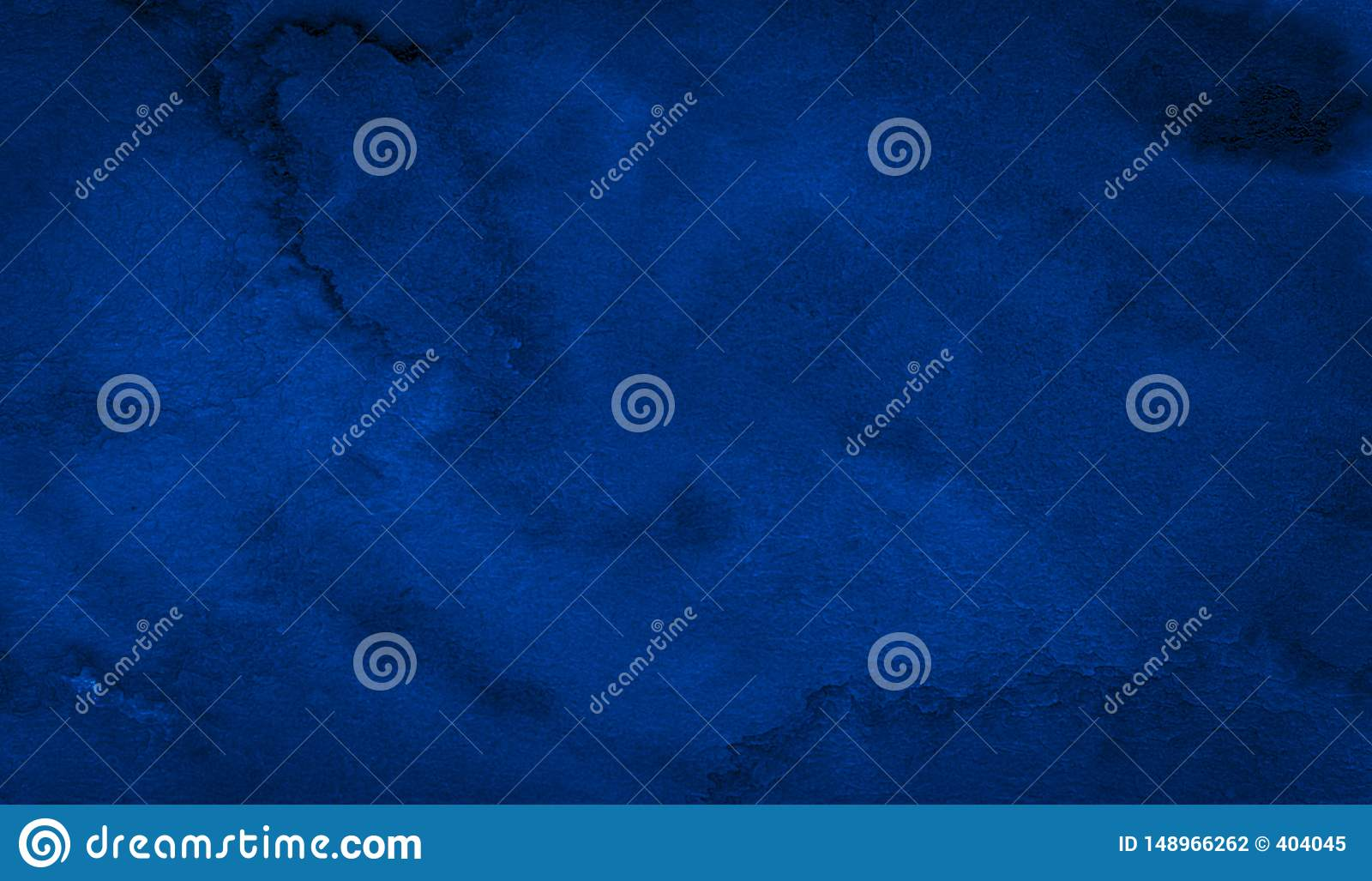 Dark rich blue watercolor background with torn strokes and uneven divorces. Abstract background for design