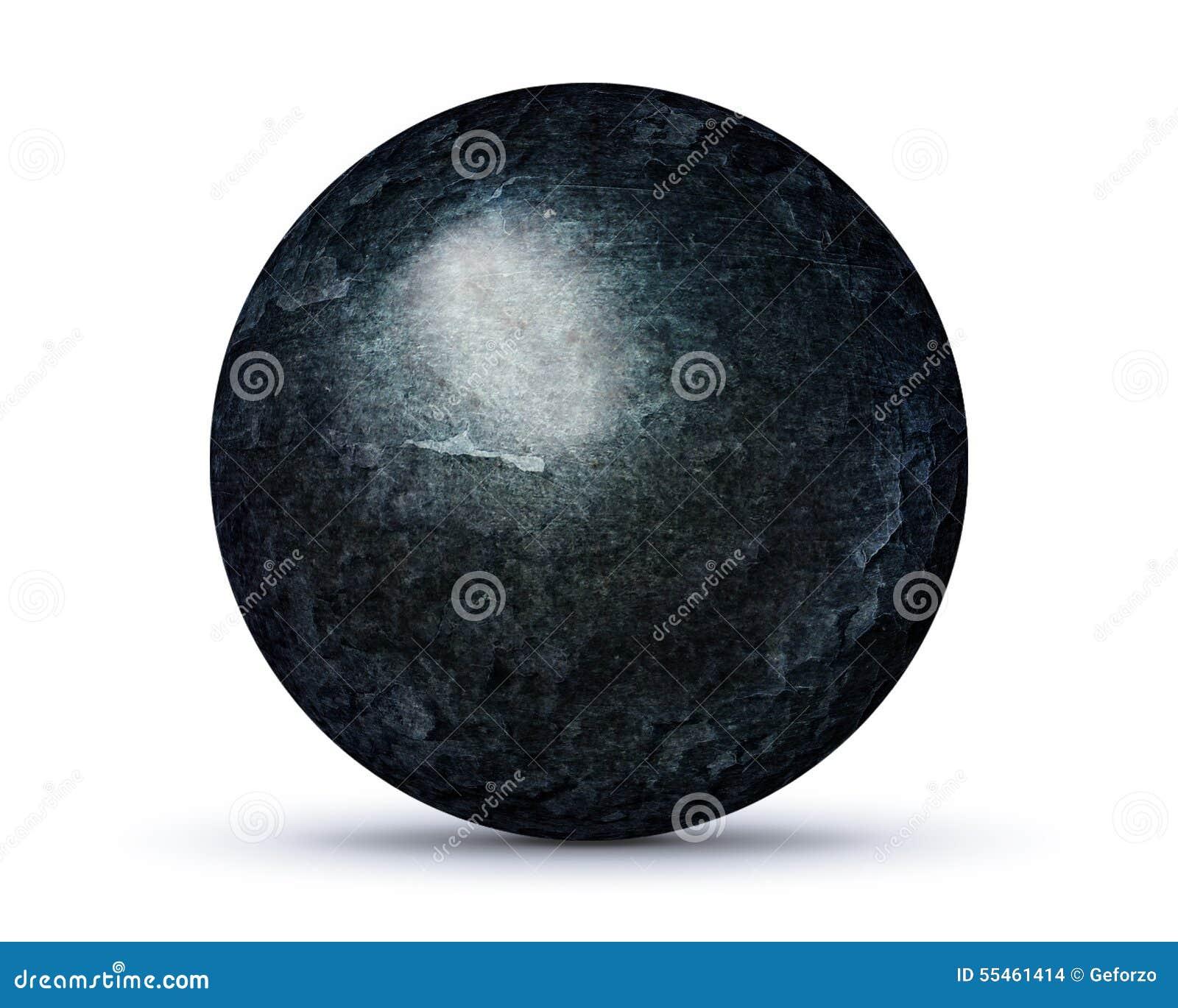 Dark rock planet on white